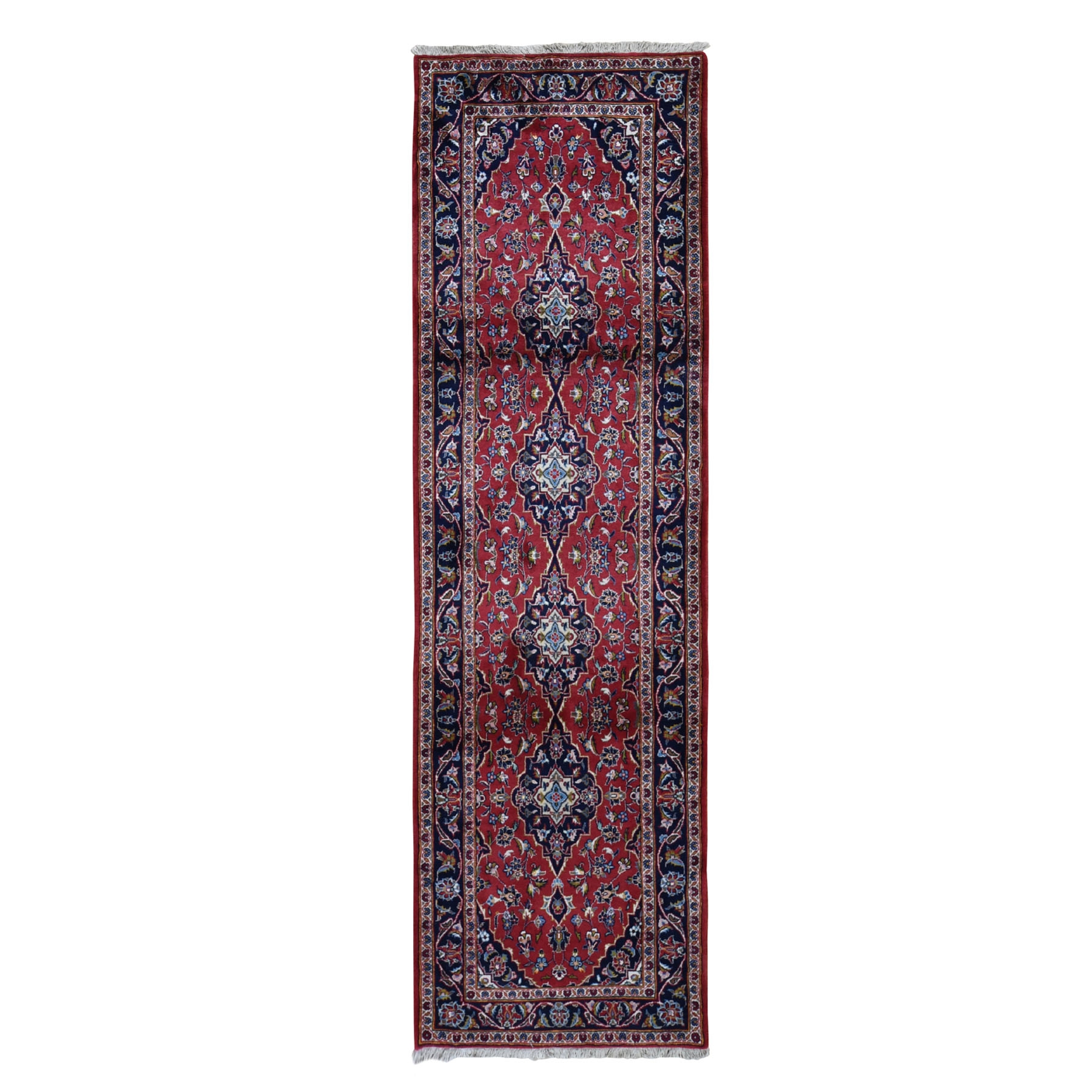 "3'3""x11'3"" Red New Persian Kashan Full Pile Runner Pure Wool hand Knotted Oriental Rug"
