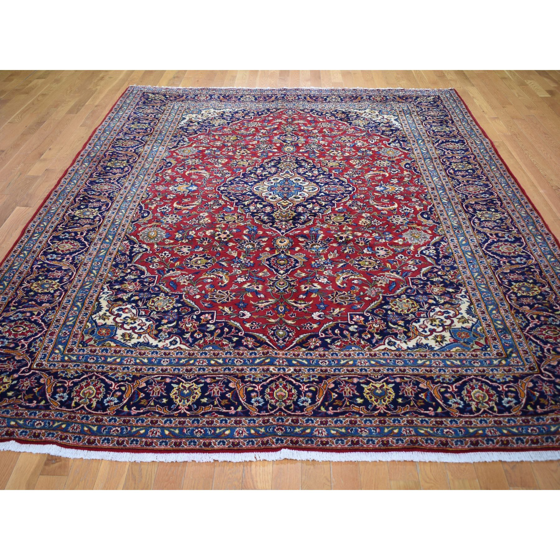 "8'x11'7"" Red Semi Antique Persian Kashan Full Pile Pure Wool Hand Woven Oriental Rug"