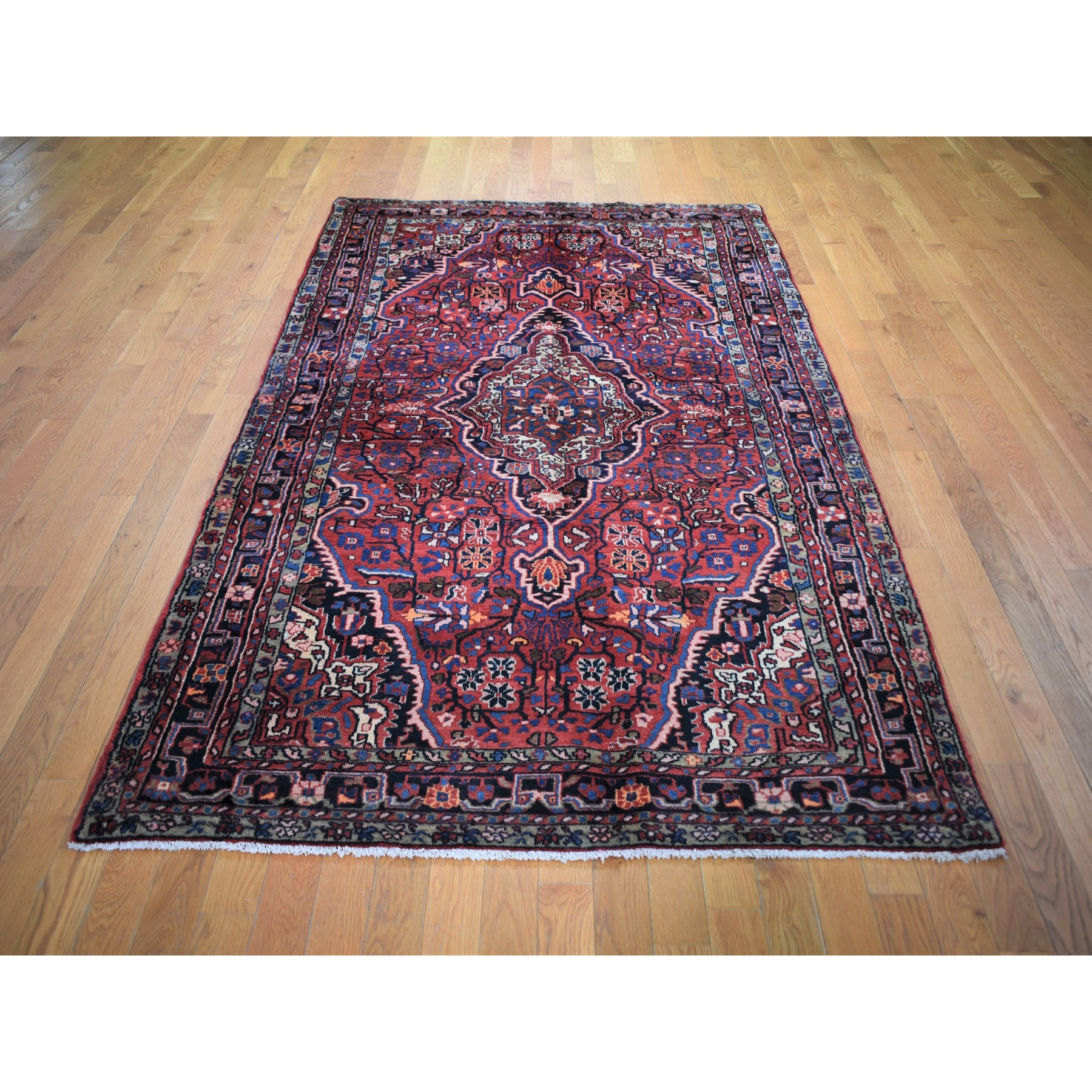 "5'x8'10"" Red Vintage North West Persian Pure Wool Hand Woven Oriental Rug"