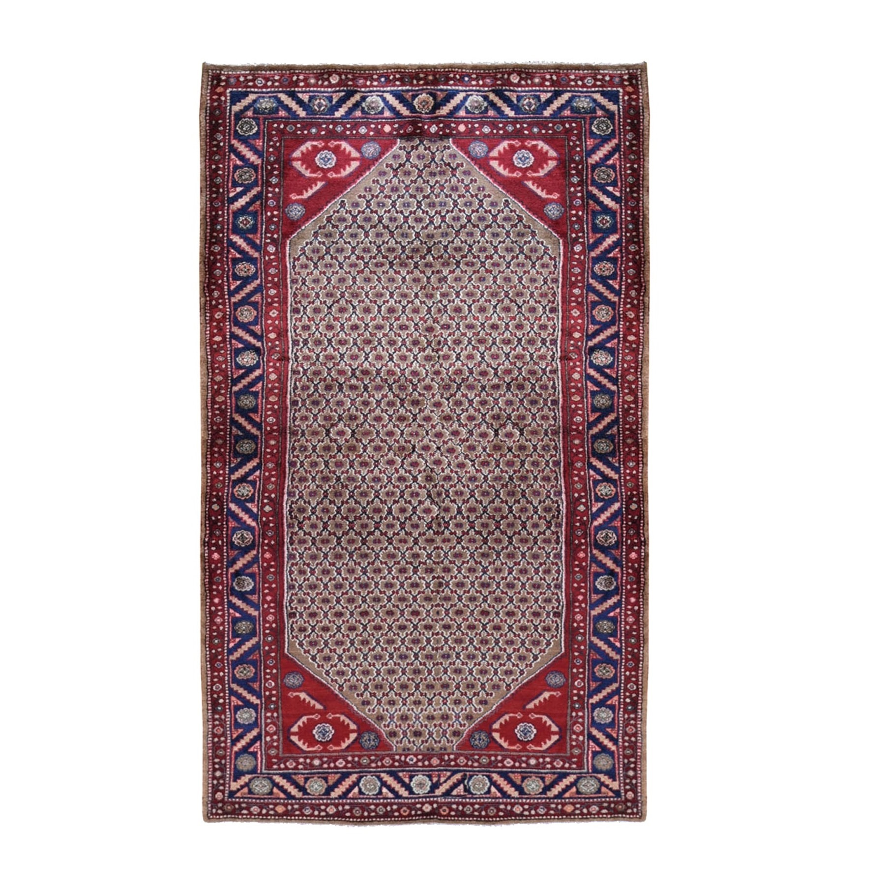 "5'x9'6"" Gallery Size Mocha New Persian Serab Camel Hair Full Pile Pure Wool Hand Woven Oriental Rug"