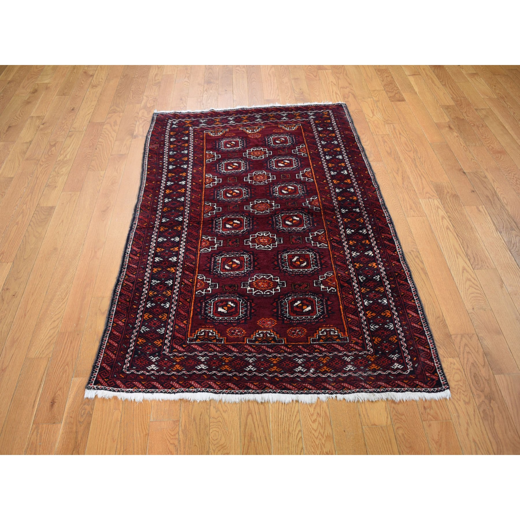 "3'4""x5'10"" Red Vintage Turkoman Gul Motif Pure Wool Hand Woven Oriental Rug"