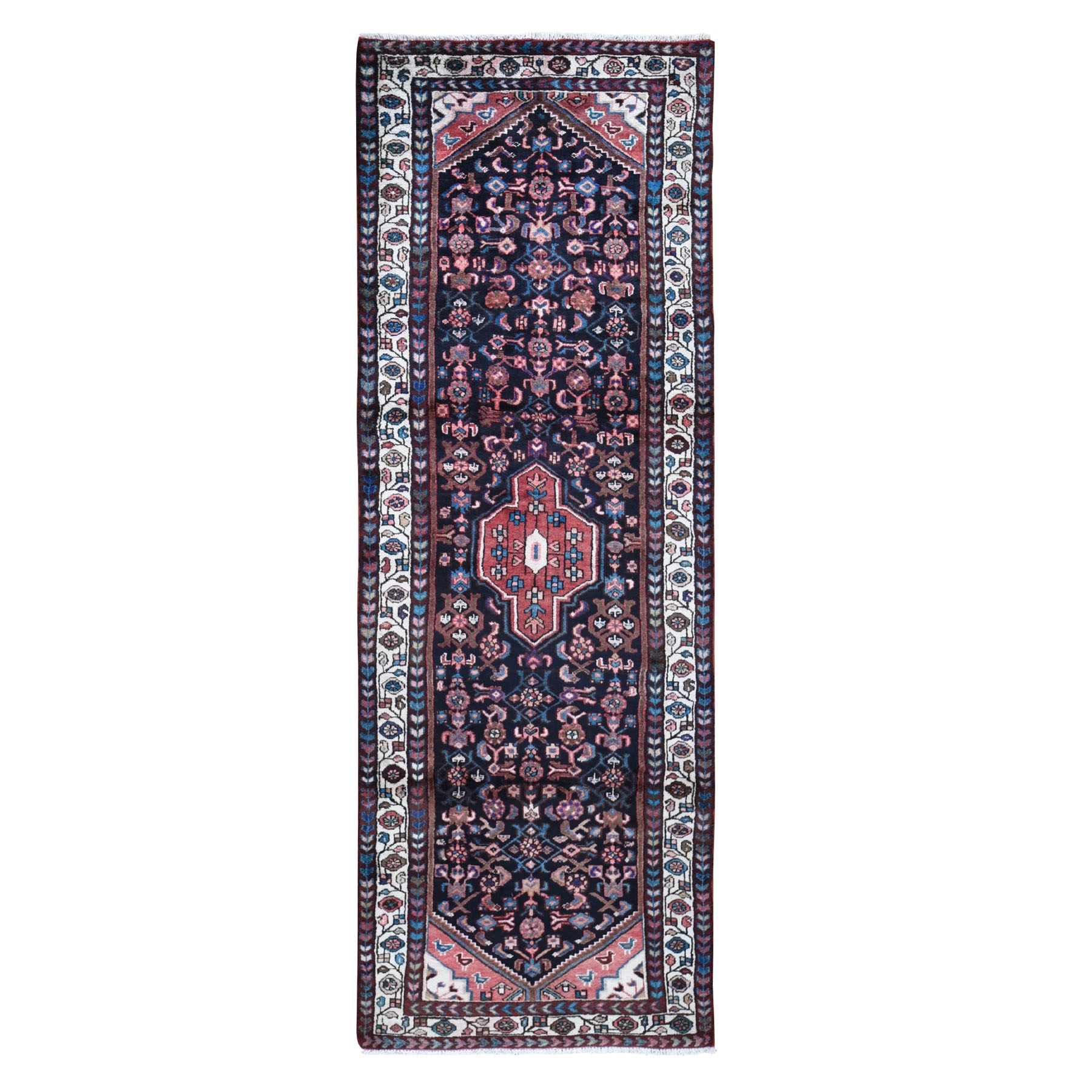 "3'4""x9'9"" Navy Blue New Persian Malayer All over Design Runner Pure Wool Hand Woven Oriental Rug"
