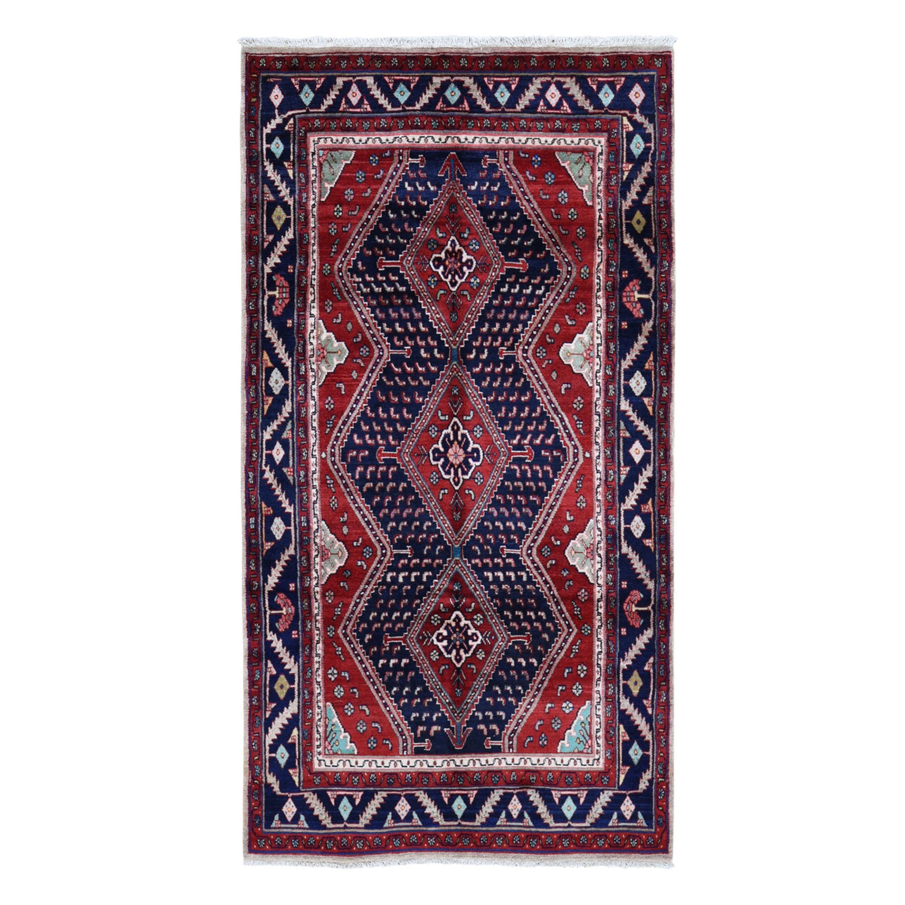 "5'1""x9'7"" Red New Persian Oriental Rug With Camel Hair Pure Wool Hand Woven Geometric Motif Rug"