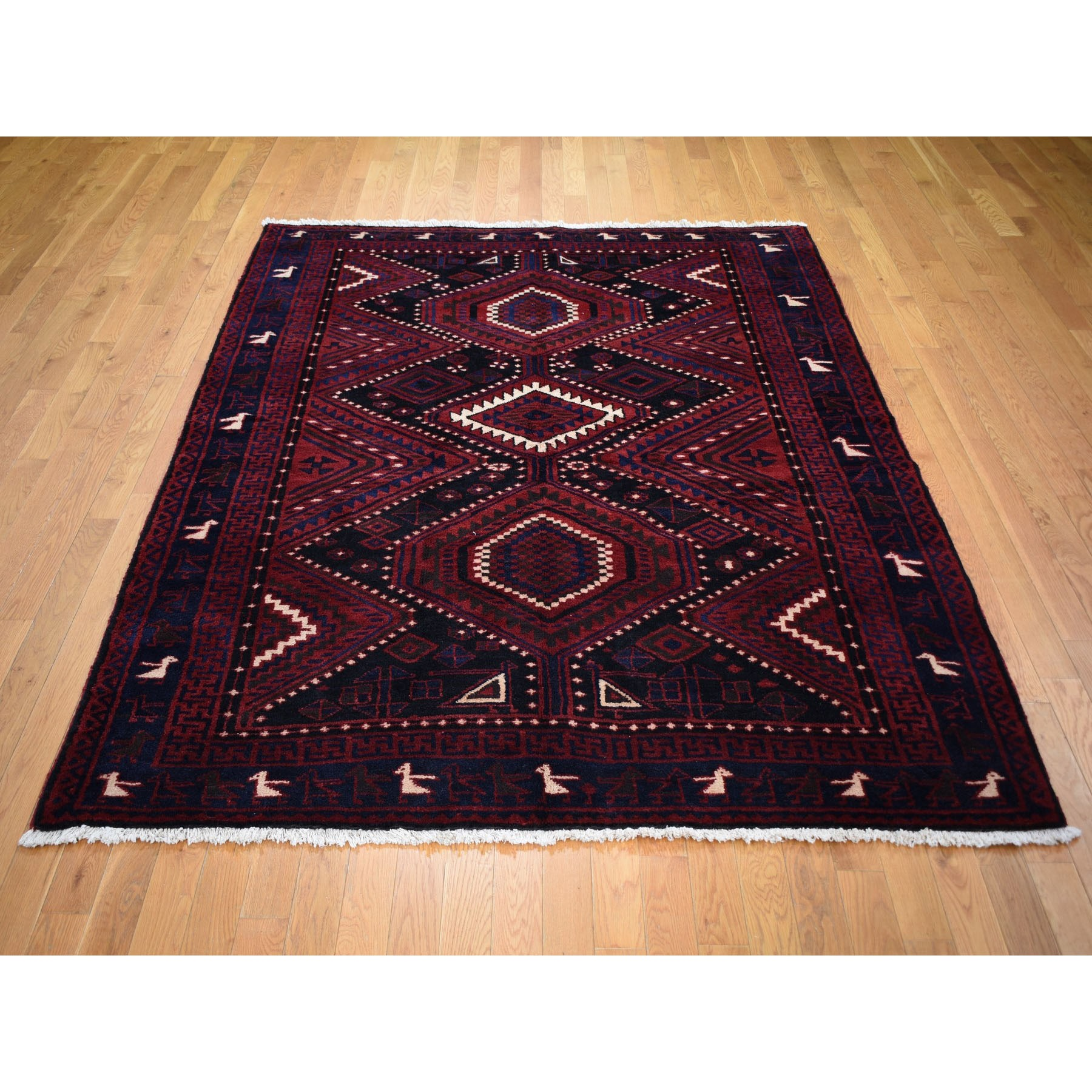 "6'1""x8'3"" Red New Persian Baluch Full Pile Pure Wool Hand Woven Oriental Rug"
