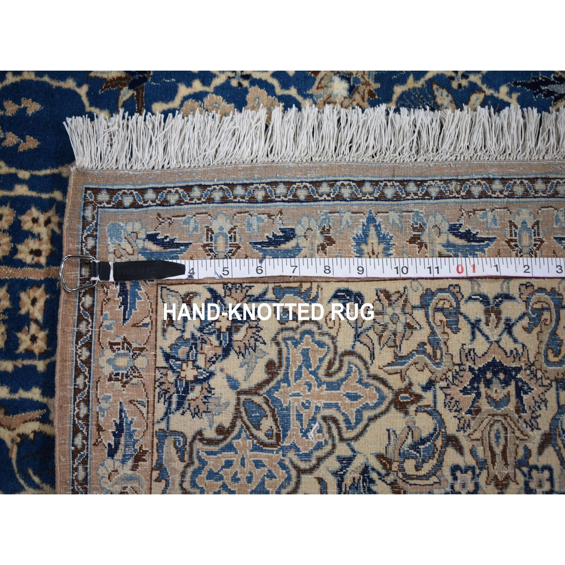 "5'5""x8'9"" Denim Blue Vintage Persian Nain 400 KPSI Exc Cond Pure Wool Hand Woven Oriental Rug"