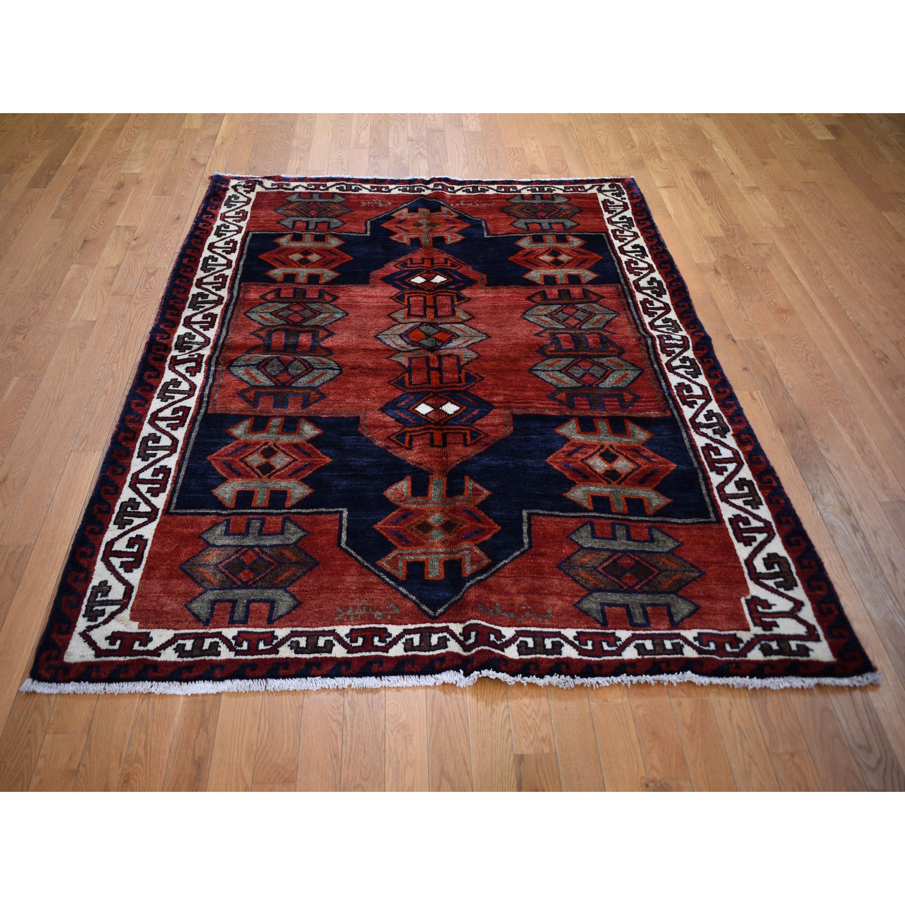 "5'7""x7'4"" Red New Persian Kurdish Clean Pure Wool Hand Woven Oriental Rug"
