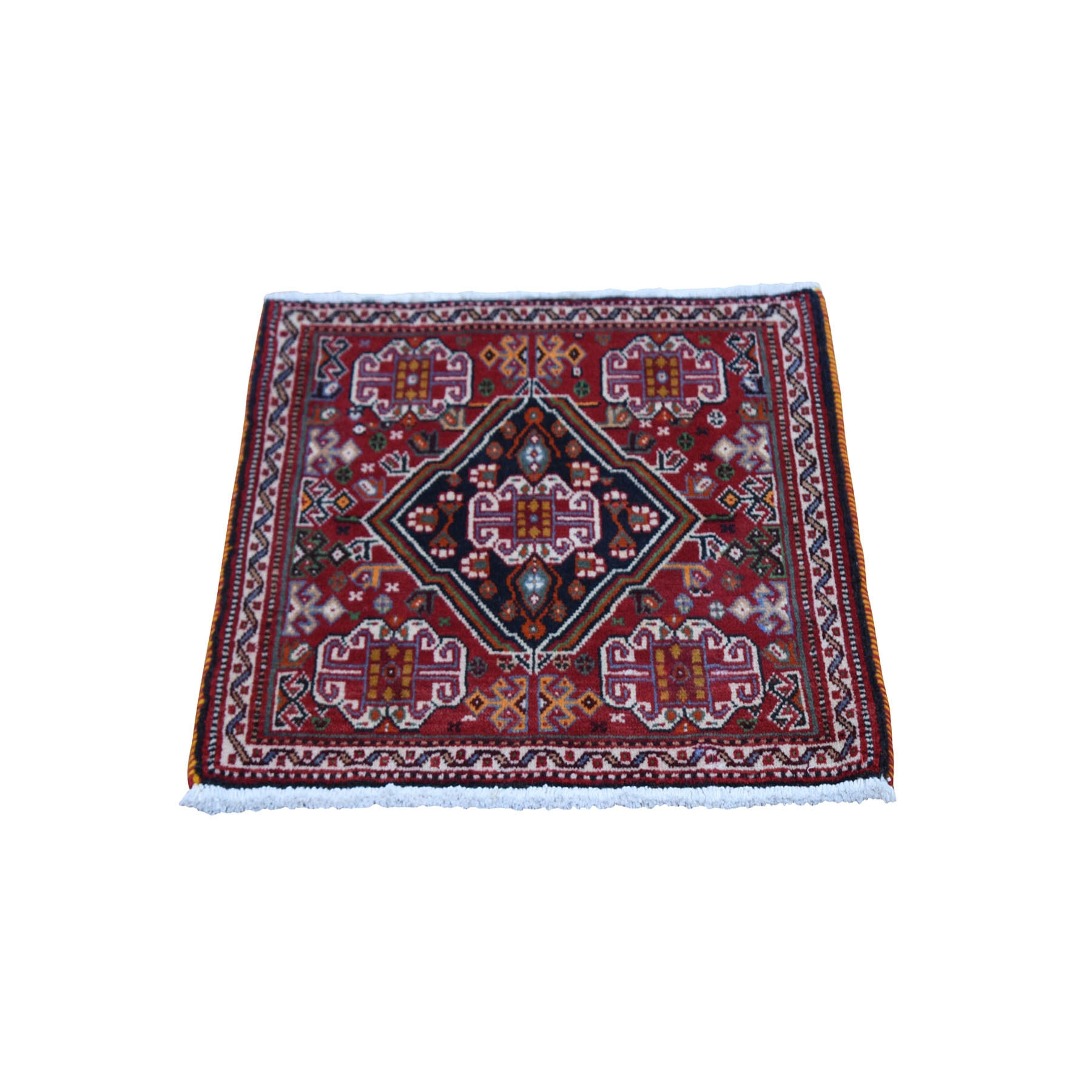 2'x2' Red Vintage Persian Qashqai Nomad Vivid Exc Condition Pure Wool Hand Woven Little Bohemian Mat