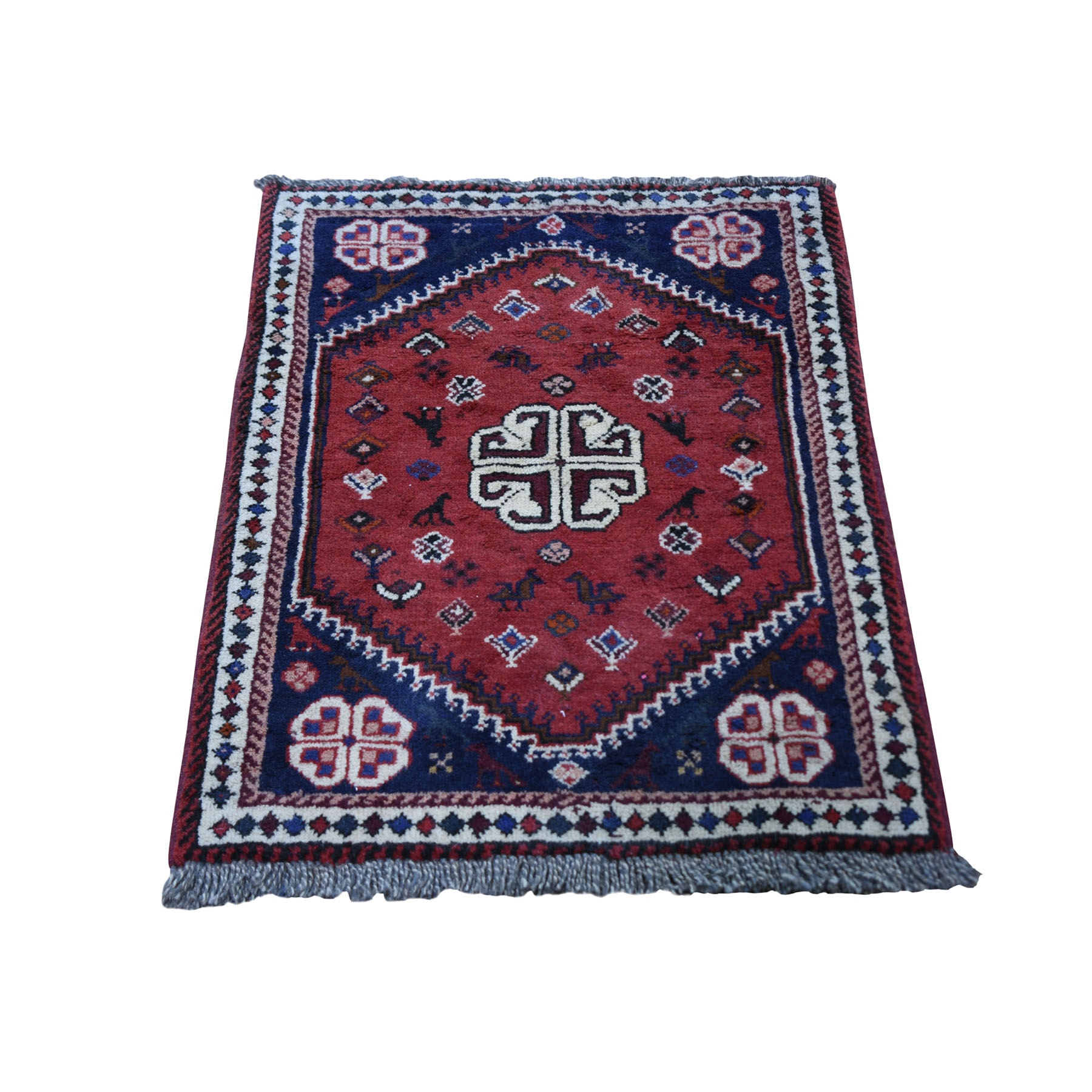 "2'2""x3'2"" Red New Persian Shiraz Nomad Vivid Full Pile Hand Woven Bohemian Rug"