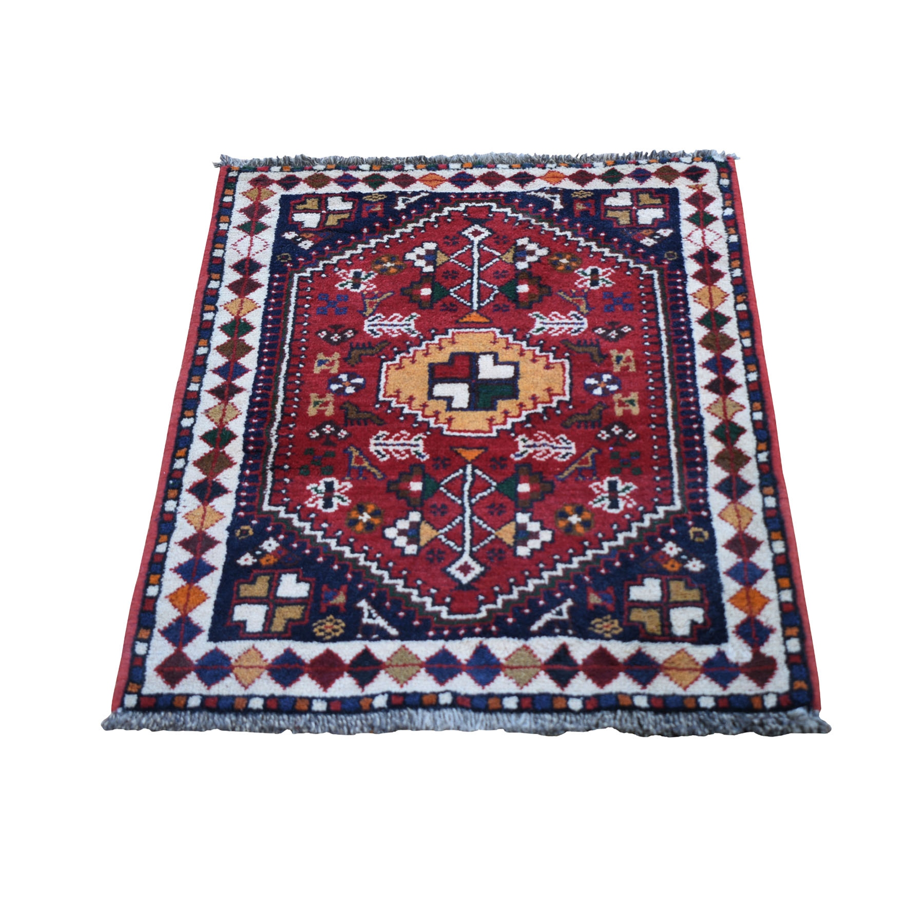 "2'3""x3' Red New Persian Shiraz With Figurines Hand Woven Pure Wool Small Bohemian Rug"