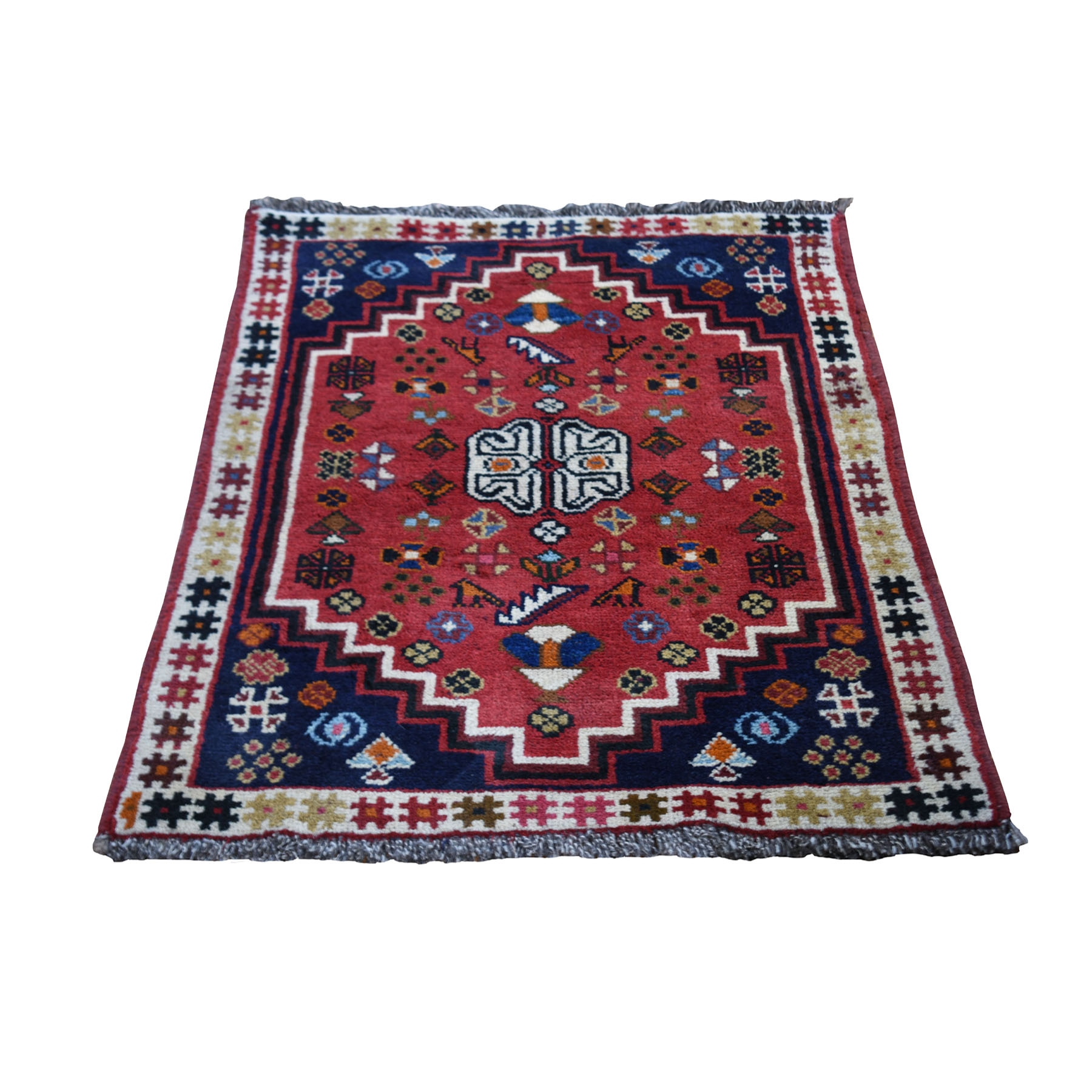 "2'4""x3'3"" Red New Persian Shiraz With Figurines Nomad Vivid Hand Woven Pure Wool Small Rug"