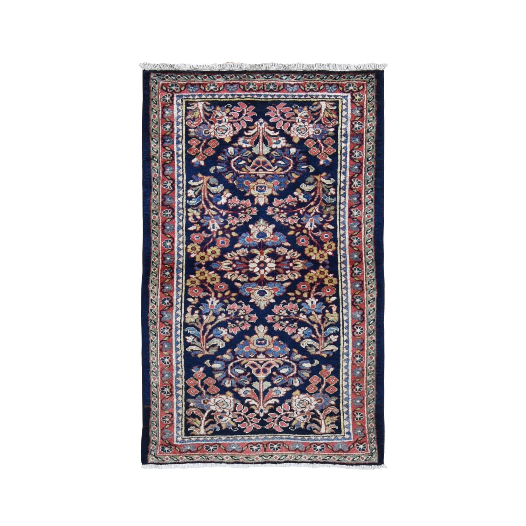 "3'x5'3"" Navy Blue Vintage Persian Sarouk Exc Cond Pure Wool Hand Woven Bohemian Rug"
