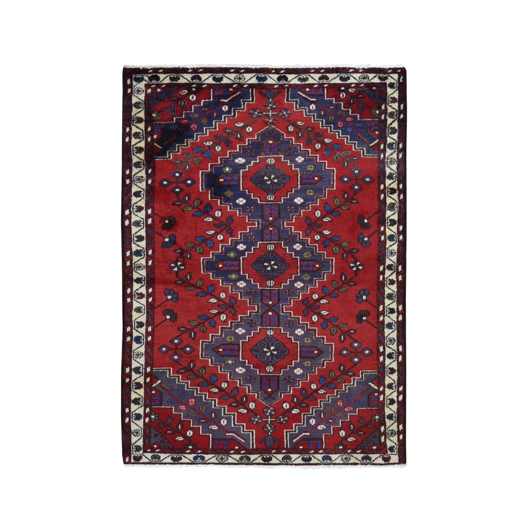 "3'5""x5' Red New Persian Pure Wool Tribal Design Hand Woven Bohemian Rug"