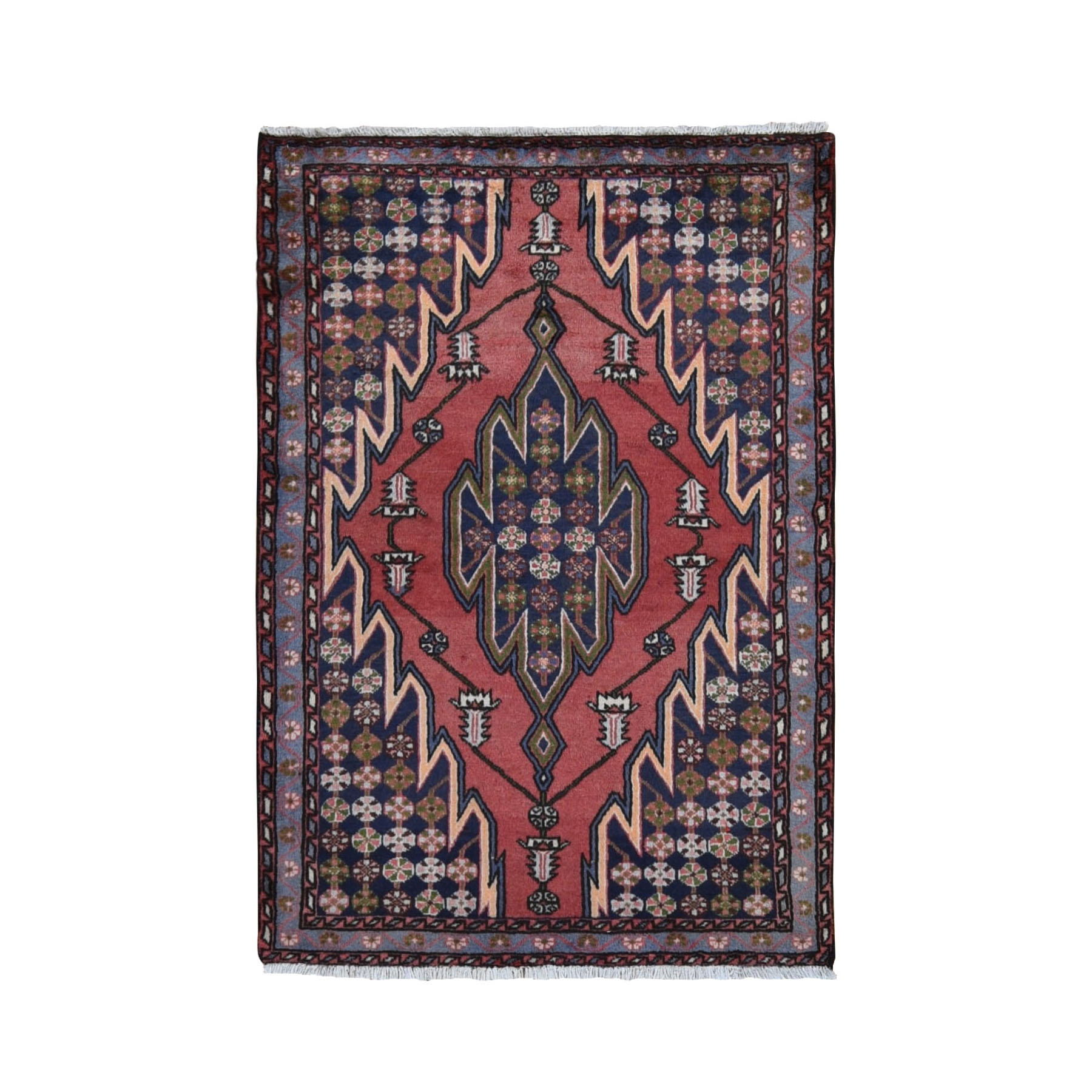 "3'5""x5' Red New Persian Mazlagan With Interesting Design Pure Wool Hand Woven Oriental Rug"