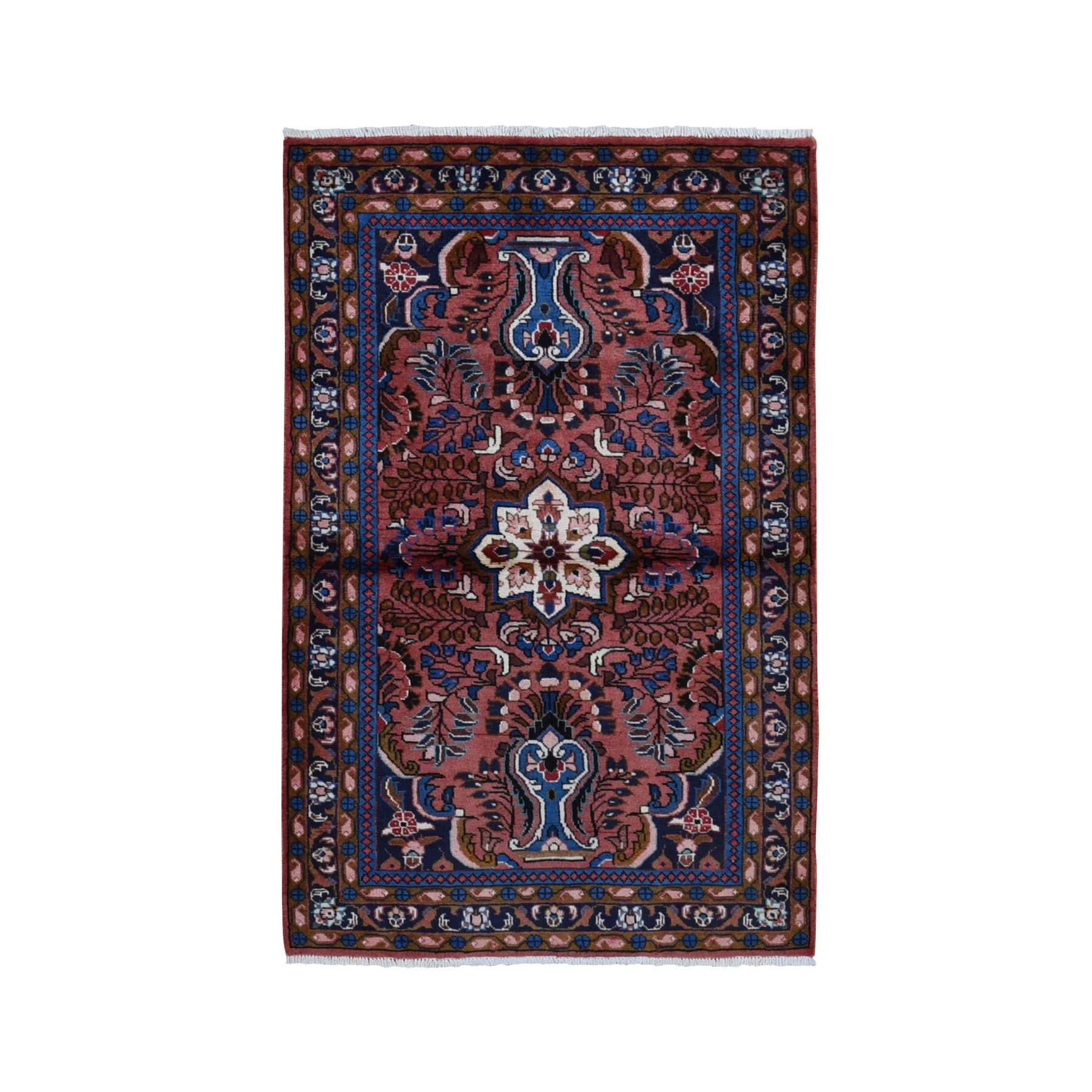 "3'8""x5'10"" Red New Persian Bohemian Lilahan Pure Wool Hand knotted Oriental Rug"