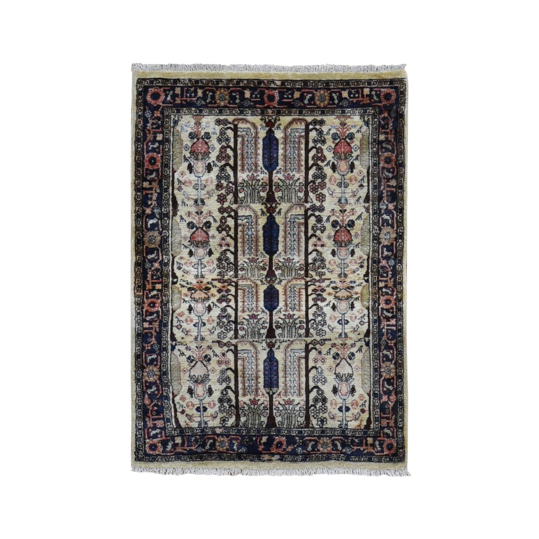 "3'1""x4'8"" Ivory New Persian Hamadan With Willow Tree Design Clean Pure Wool Hand Woven Bohemian Rug"