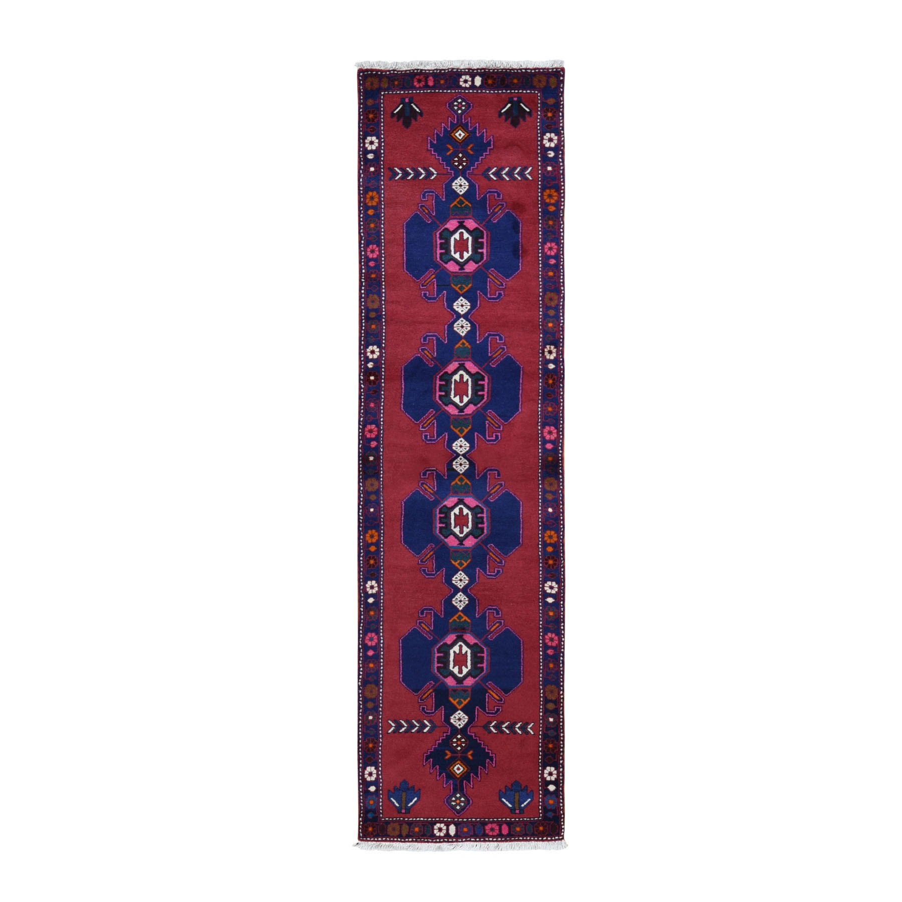 "2'6""x9'6"" Red New Persian Hamadan Pure Wool Repetitive Medallion Design Open Field Oriental Runner Rug"