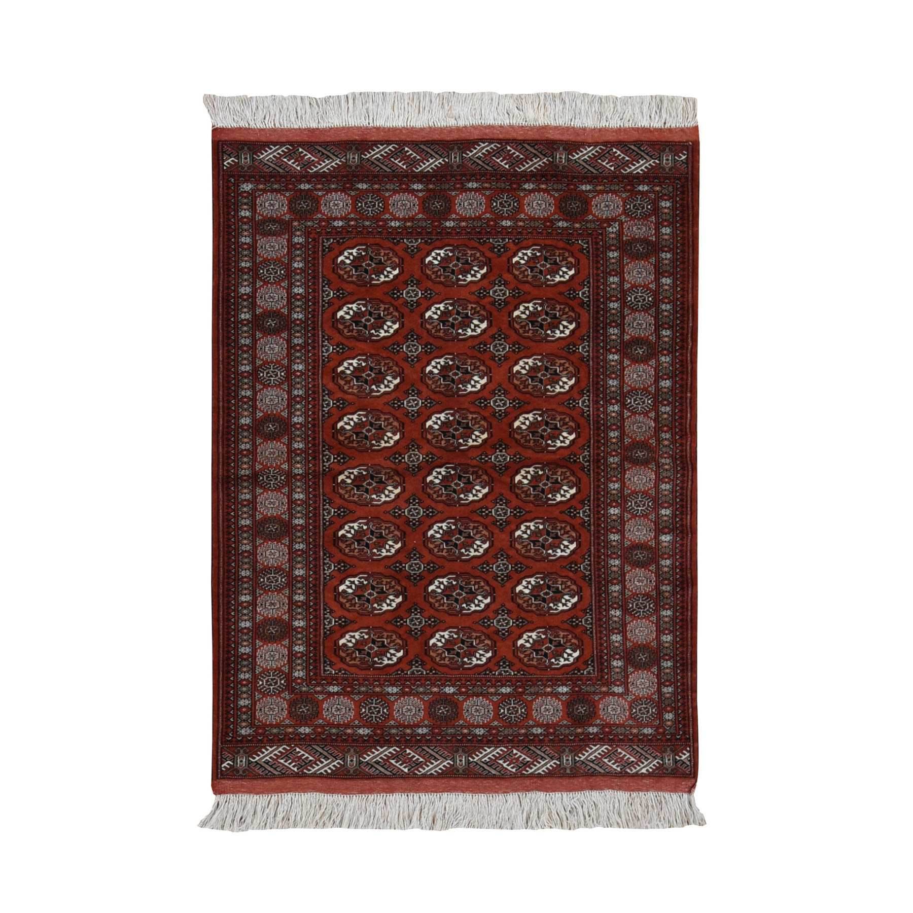 "4'4""x5'7"" Rust Red New Persian Turkoman Bokara Hi KPSI Pure Wool Hand Woven Oriental Rug"
