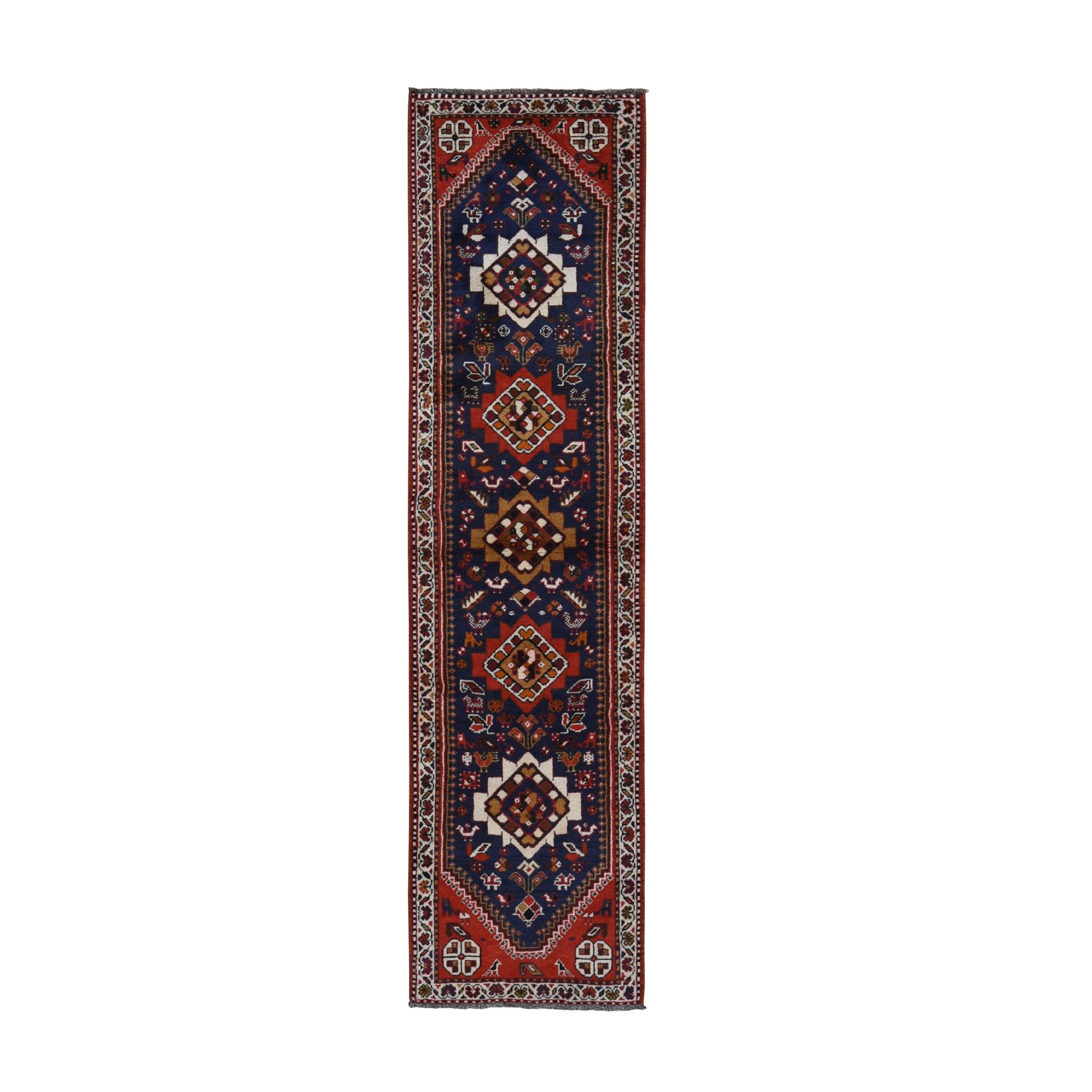 "2'5""x9'9"" Navy Blue New Persian Shiraz Pure Wool Runner Hand Woven Oriental Rug"