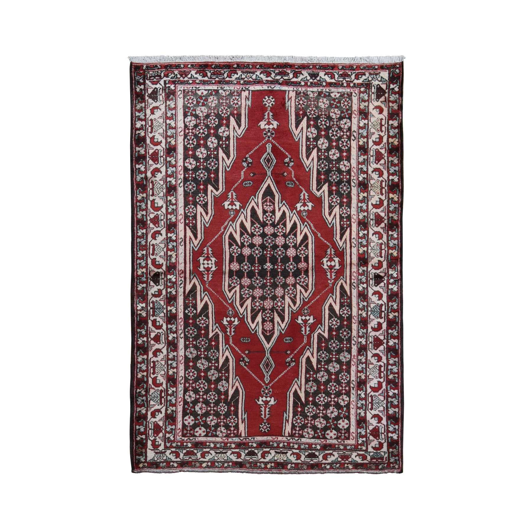 "4'5""x6'8"" Red Vintage Persian Mazlagan Pure Wool Hand Woven Bohemian Rug"