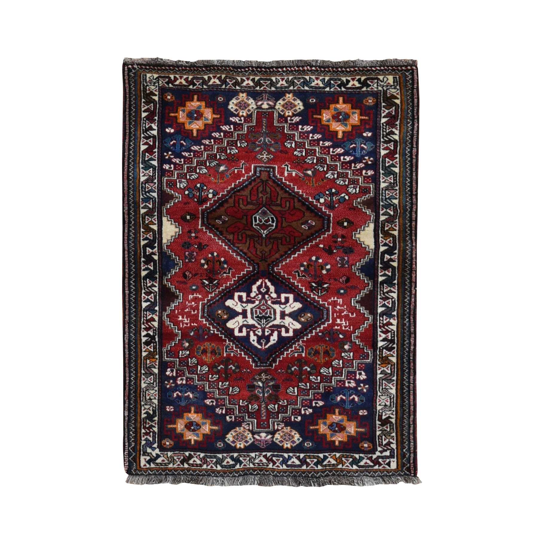 "3'8""x5'4"" Red New Persian Shiraz Pure Wool Hand Woven Oriental Rug"