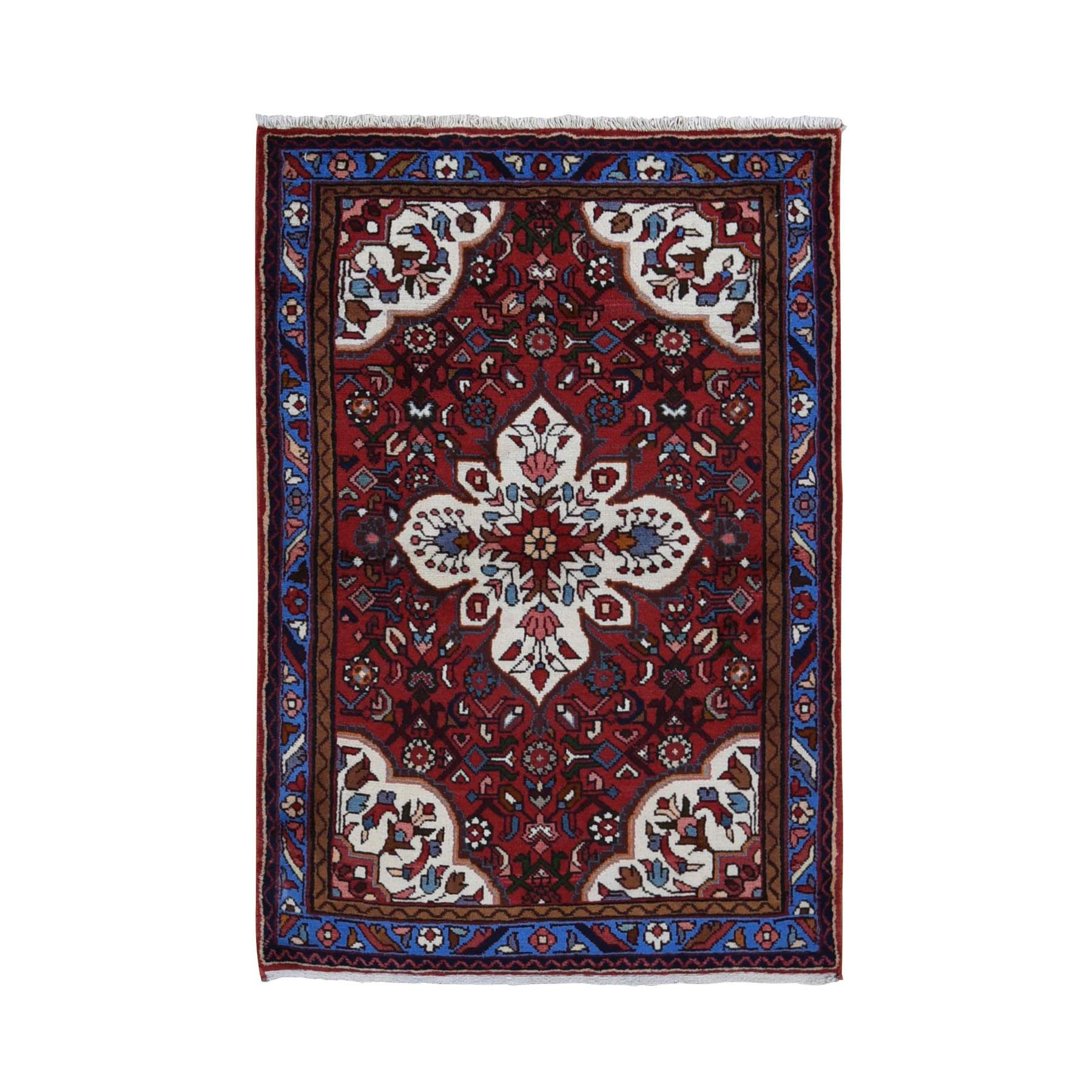 Red New Persian Hamadan Pure Wool Hand Woven Bohemian Rug