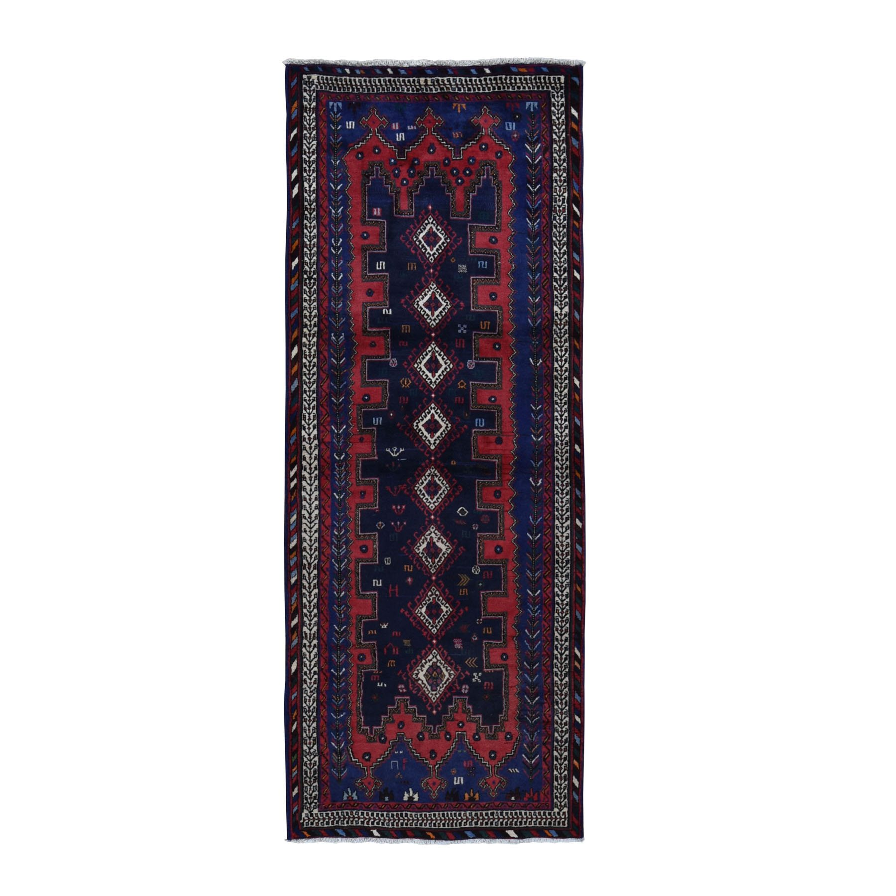 "3'5""x9' Navy Blue New Persian Afshar Geometric Design Pure Wool Hand Woven Wide Runner Oriental Rug"