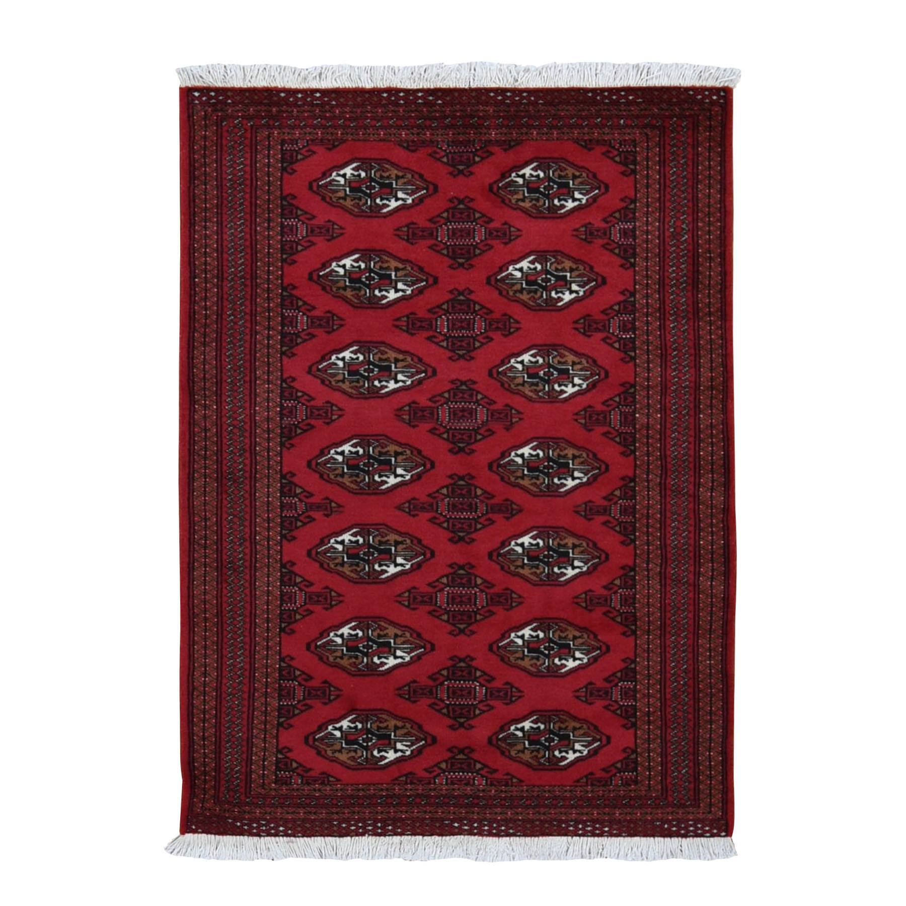 "5'5""x8'6"" Red New Persian Turkoman Bokara Pure Wool Hand Woven Oriental Rug"