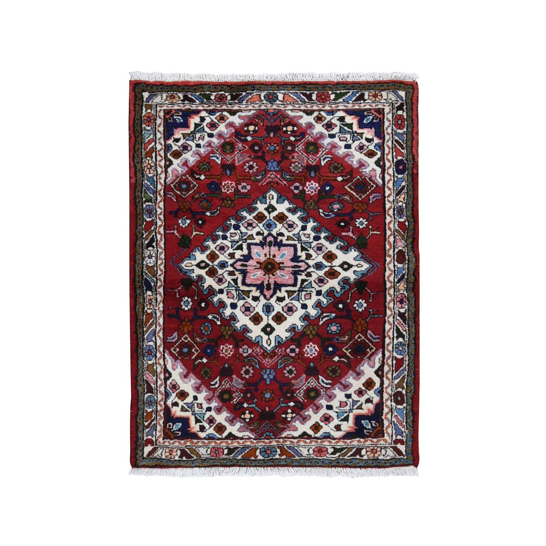 "3'7""x4'8"" Red New Persian Hamadan Pure Wool Hand Woven Bohemian Rug"