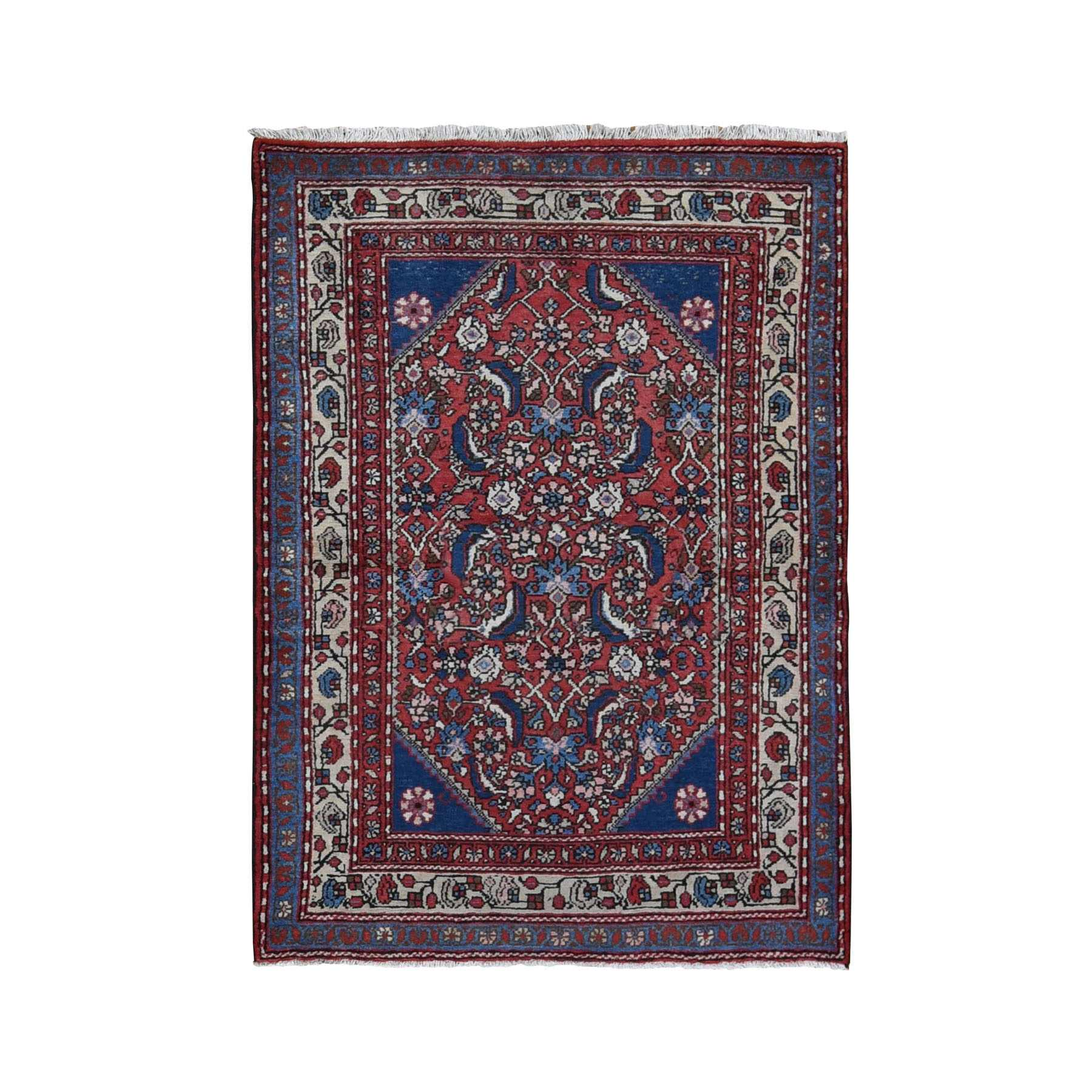 "3'8""x5' Red Vintage Persian Hamadan Mahi Fish design Pure Wool Hand Woven Oriental Rug"