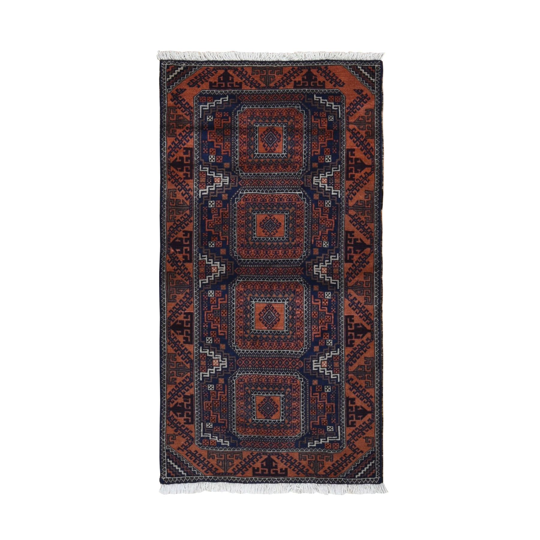 "2'10""x5'6"" Navy Persian Baluch Geometric Design Pure Wool Hand Woven Oriental Rug"