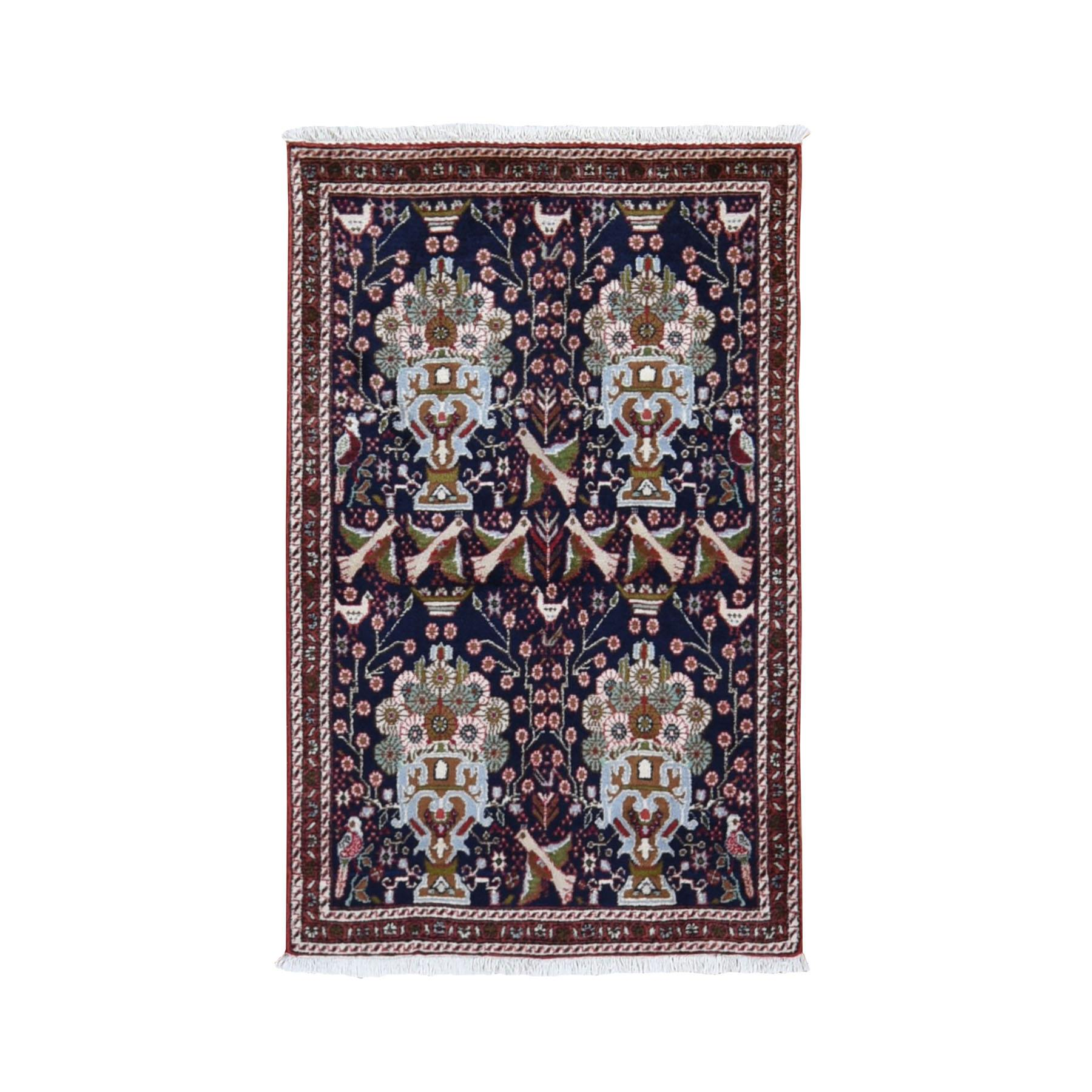 "2'8""x4'7"" Navy New Persian Birjand With Flower And Birds Design Hand Woven Pure Wool Oriental Rug"