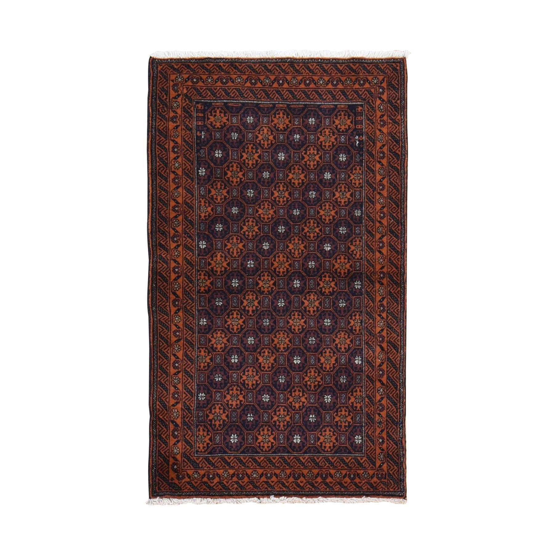 "2'9""x4'9"" Navy Vintage Persian Baluch Geometric Design Pure Wool Hand Woven Oriental Rug"