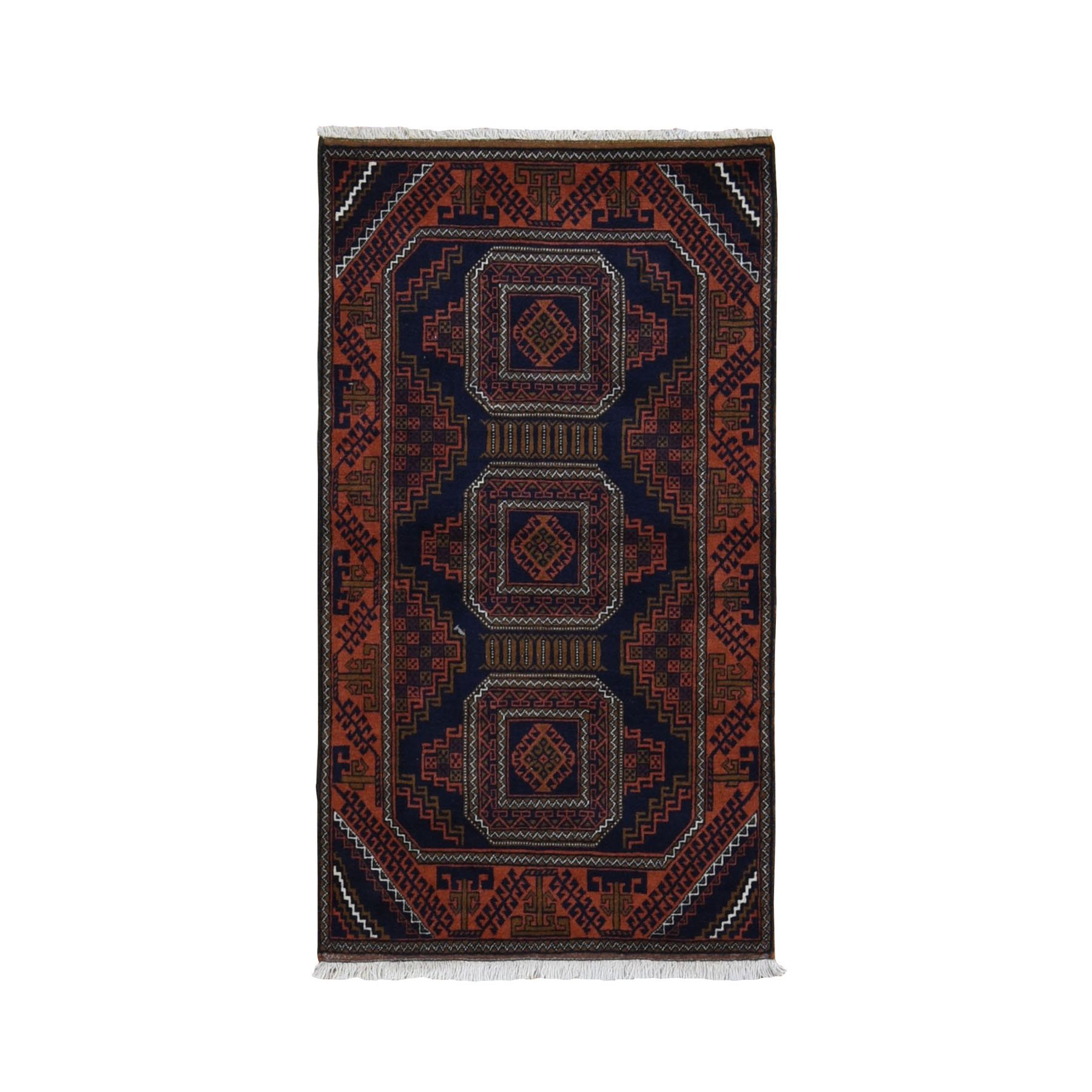 "2'9""x5' Navy Vintage Persian Baluch Geometric Design Pure Wool Hand Woven Oriental Rug"