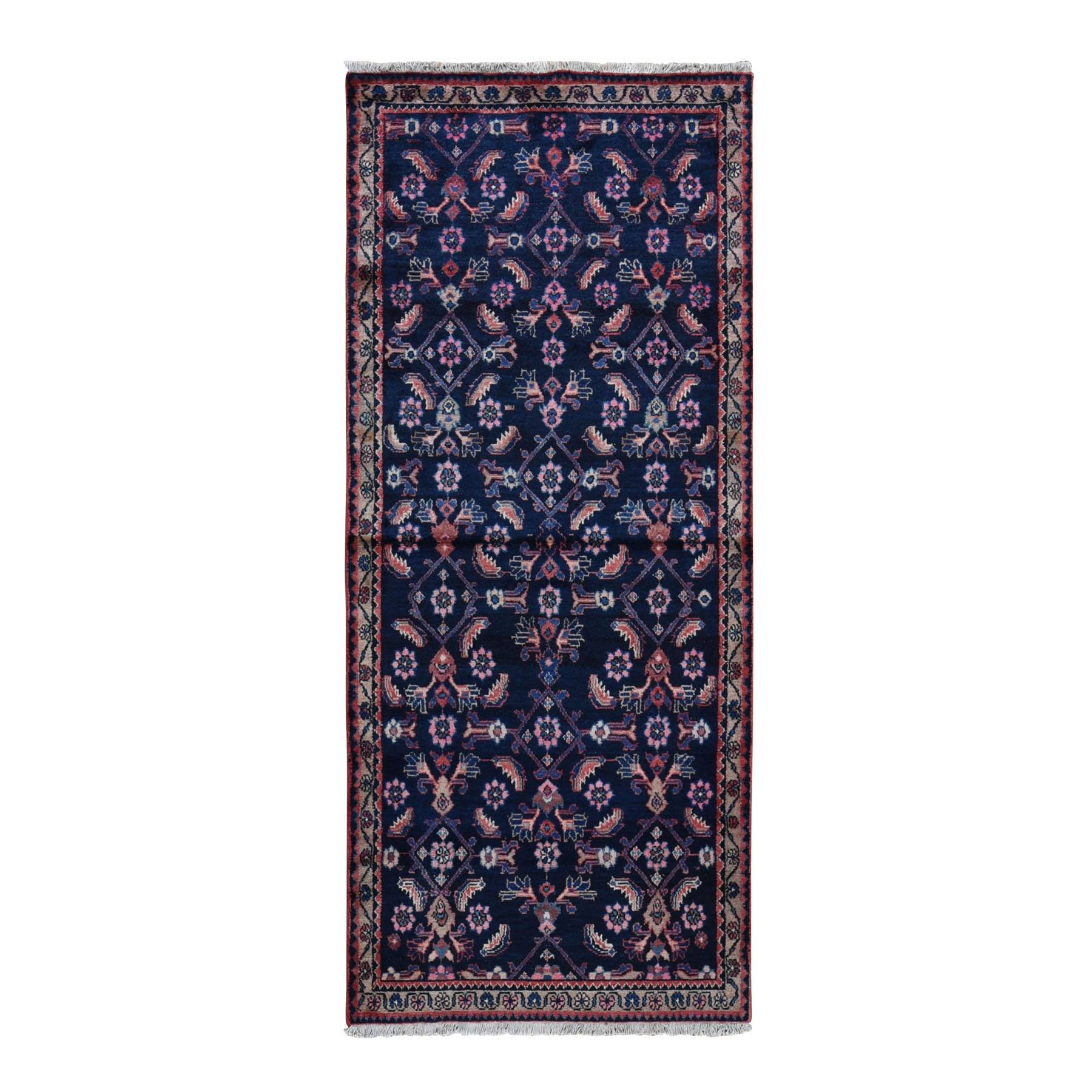 "3'5""x8' Navy Blue Vintage Persian Malayer Herat Fish Design Wide Runner Hand Woven Bohemian Rug"