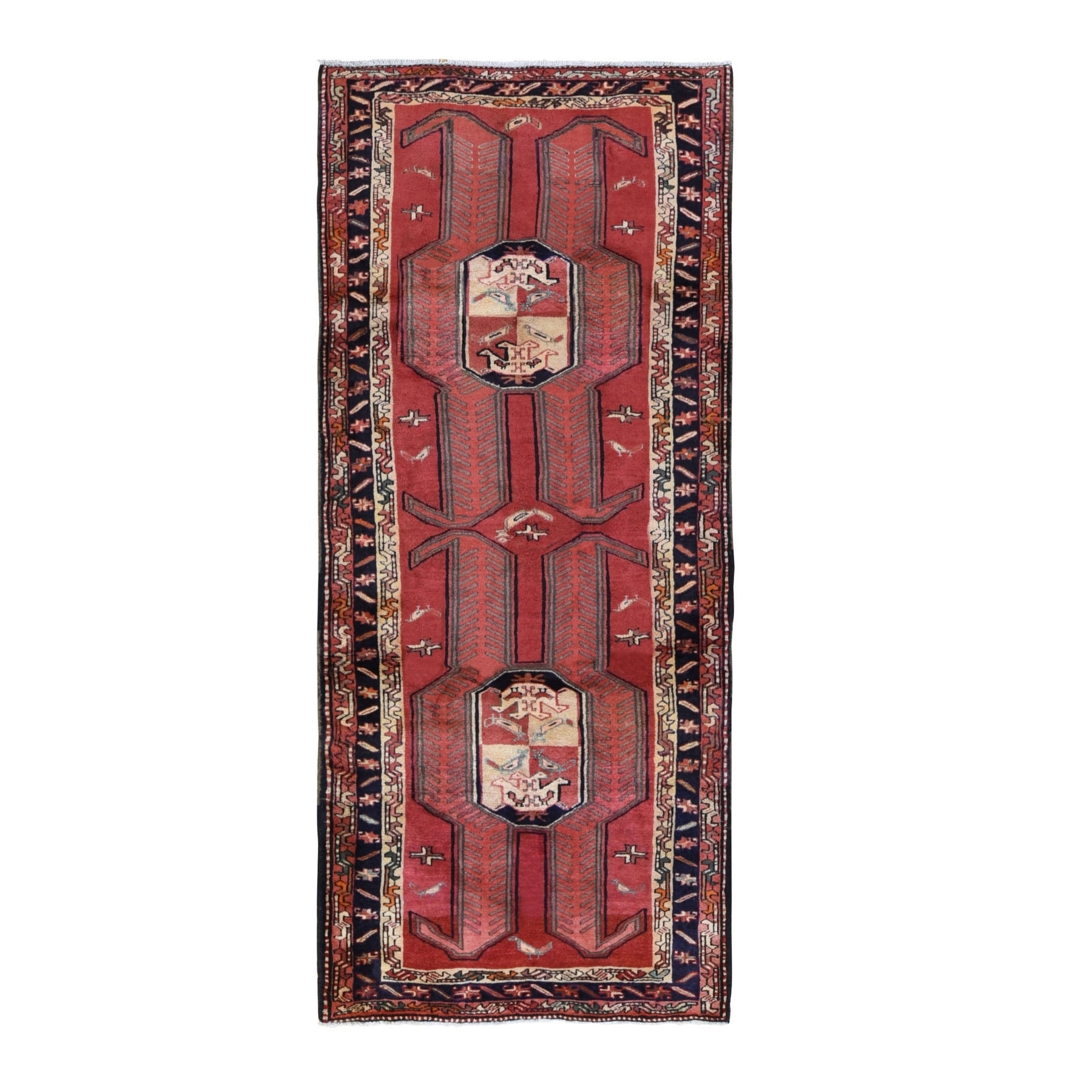 "4'1""x9'7"" Red Vintage North West Persian With Large Elements Wide Runner Pure Wool Bohemian Rug"