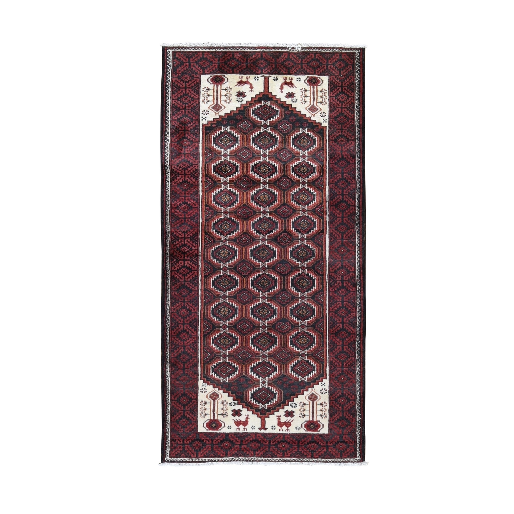 "3'8""x7'9"" Red Vintage Persian Baluch With Peacock Design Wide Runner Pure Wool Hand Woven Oriental Rug"