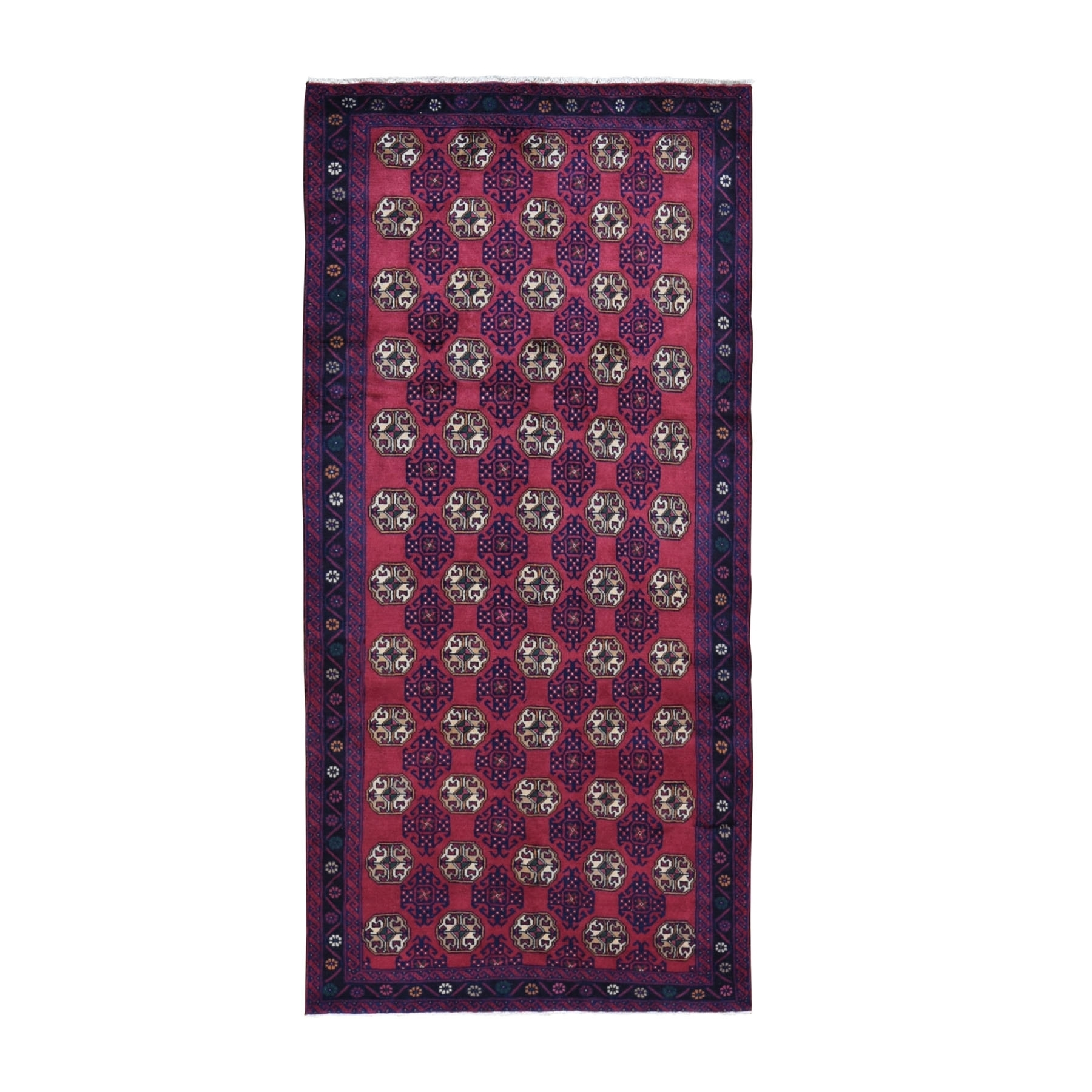 "4'2""x8'10"" Red Vintage Persian Baluch Wide Runner Tribal Design Pure Wool Hand Woven Oriental Rug"