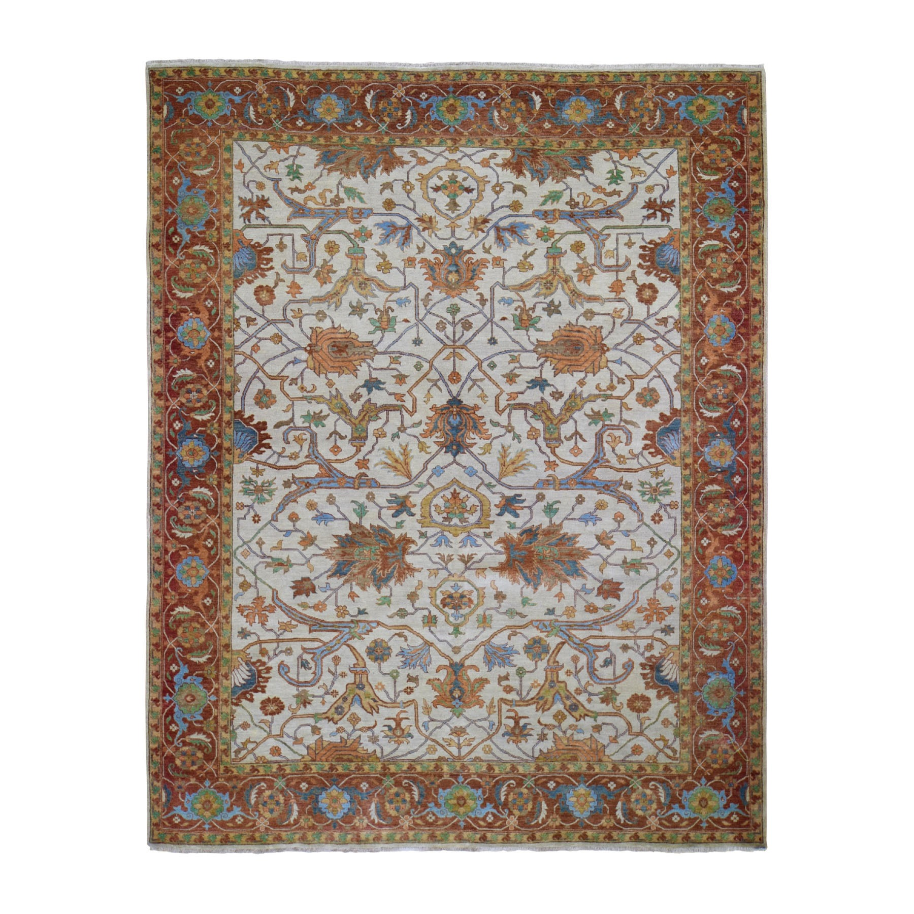 "8'1""x10' Ivory Heriz Re-Creation Vegetable DyesPure Wool Hand Woven Oriental Rug"