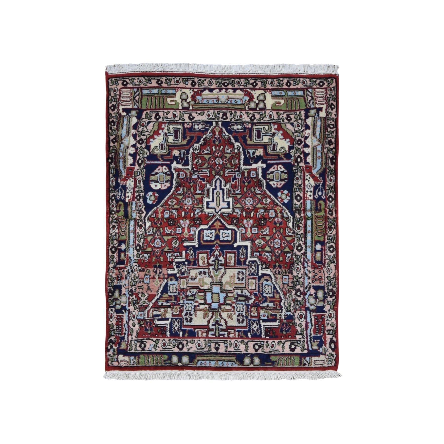 "3'1""x4' Red Vintage Persian Senneh Sampler  Pure Wool Hand Woven Bohemian Rug"
