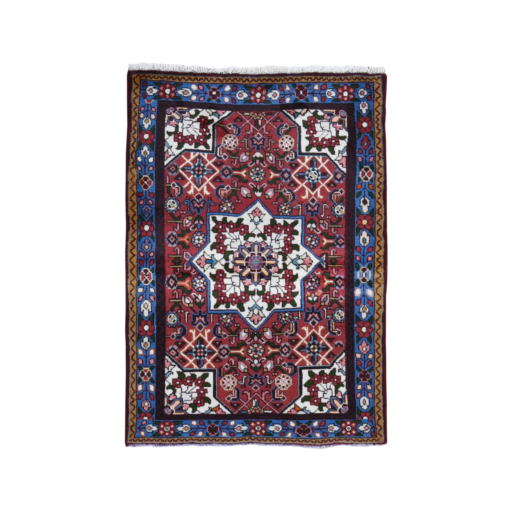 "3'4""x4'10"" Red New Persian Hamadan Flower Bouquet Design Pure Wool Hand Woven Bohemian Rug"