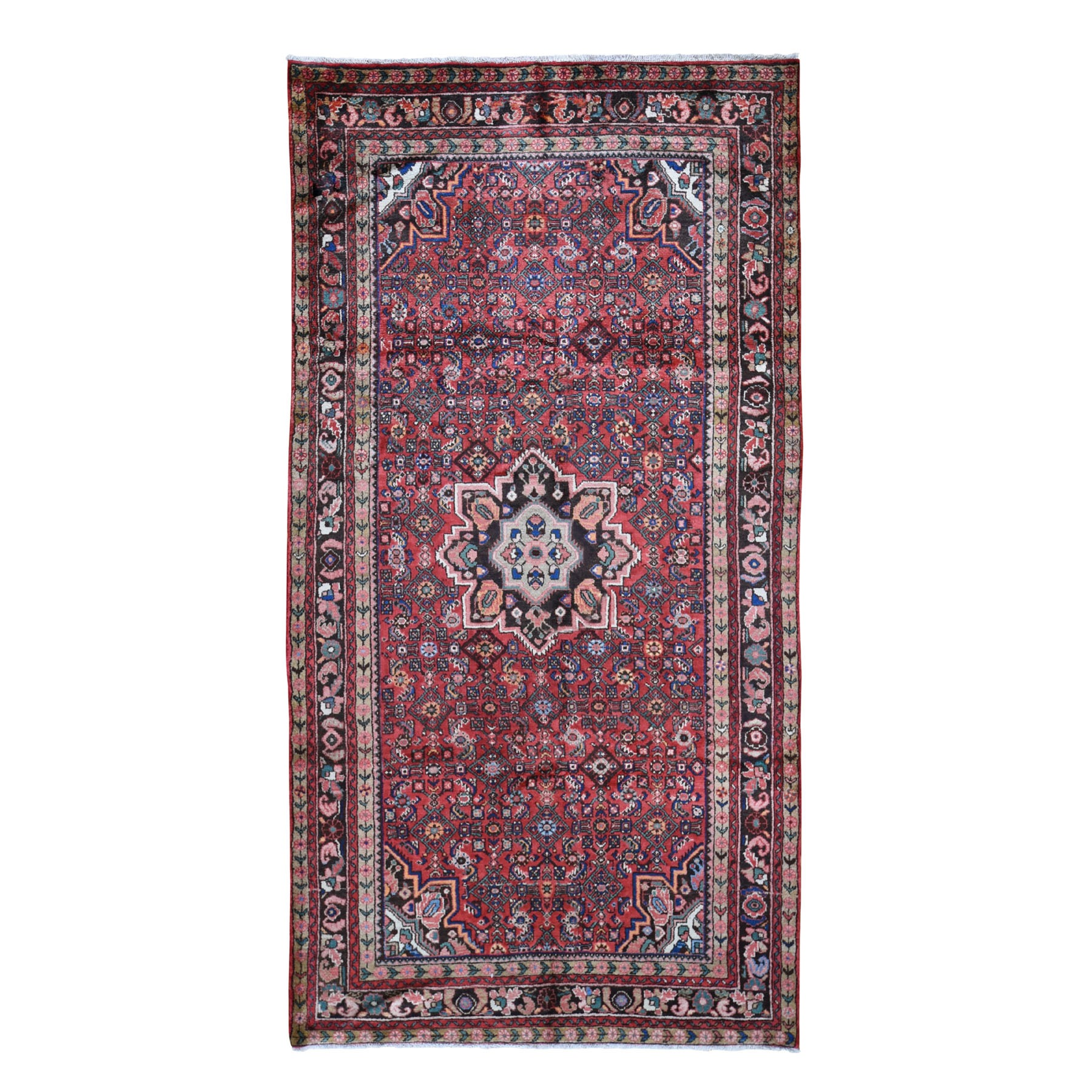 "5'5""x10'5"" Gallery Size Red Vintage Persian Hamadan Full Pile Pure Wool Hand Woven Oriental Rug"