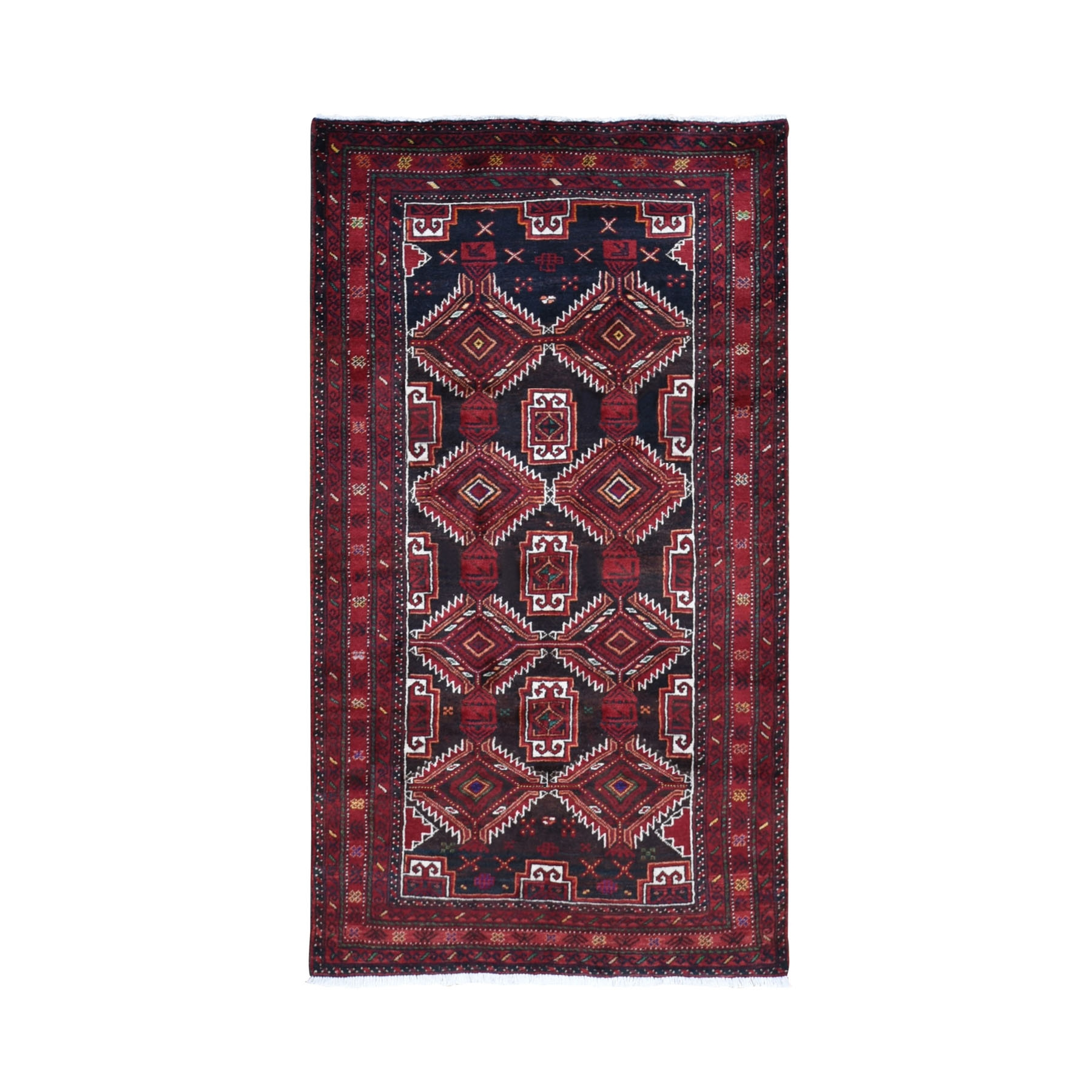 "3'7""x6'5"" Red Vintage Persian Baluch Geometric Design Exc Cond Pure Wool Hand Woven Oriental Rug"
