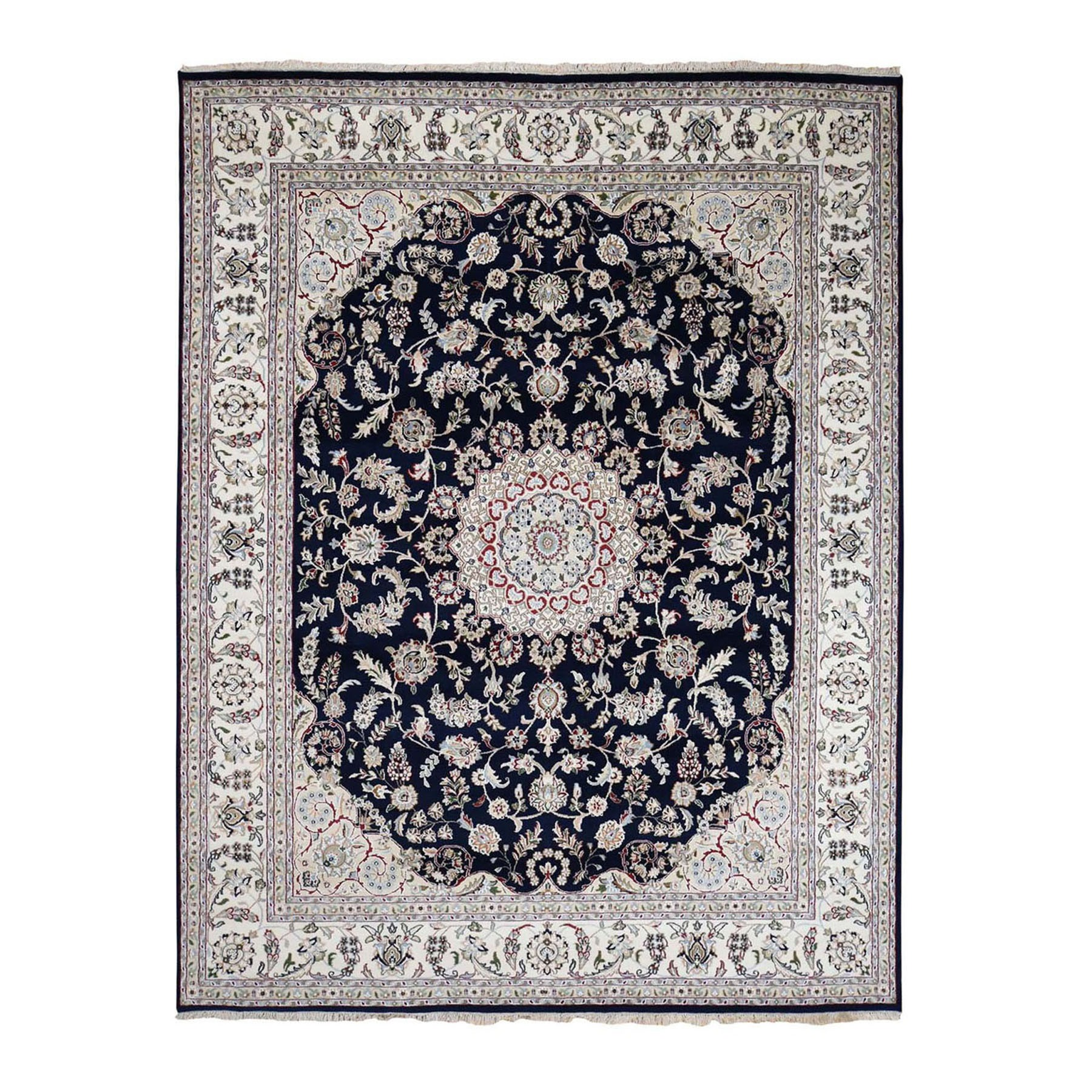"7'10""x10' Navy Blue Wool And Silk 250 KPSI Nain Hand Woven Oriental Rug"