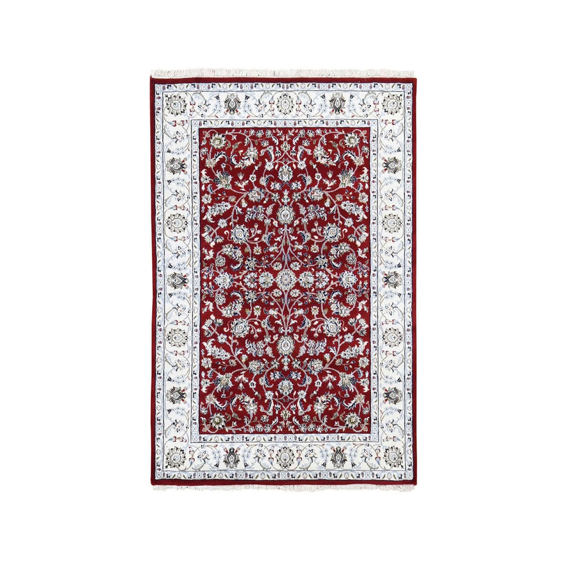 "3'2""x5'3"" Red Nain Wool And Silk All Over Design 250 KPSI Hand Woven Oriental Rug"