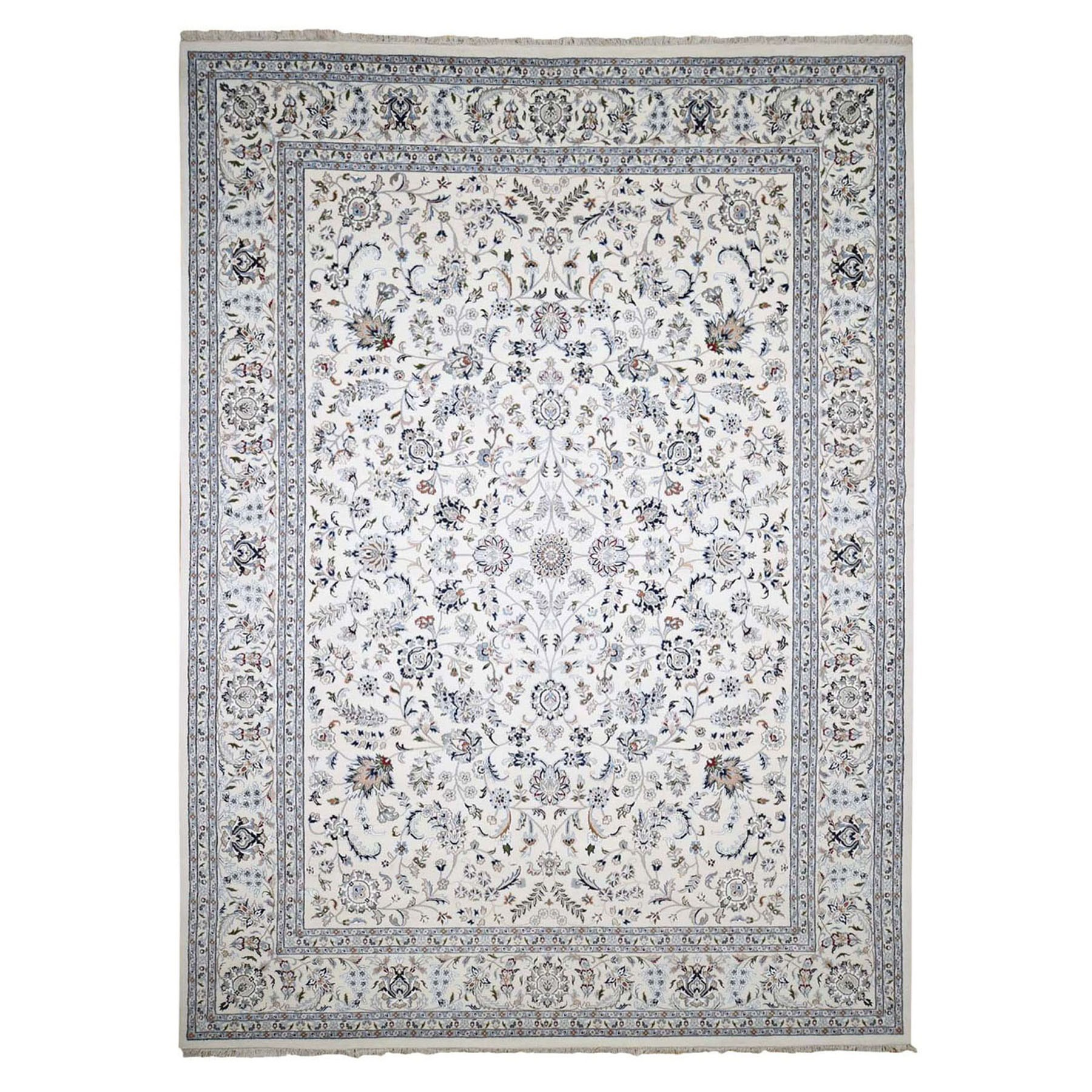 "9'7""x13'10"" Ivory Wool And Silk 250 KPSI All Over Design Nain Hand Woven Oriental Rug"