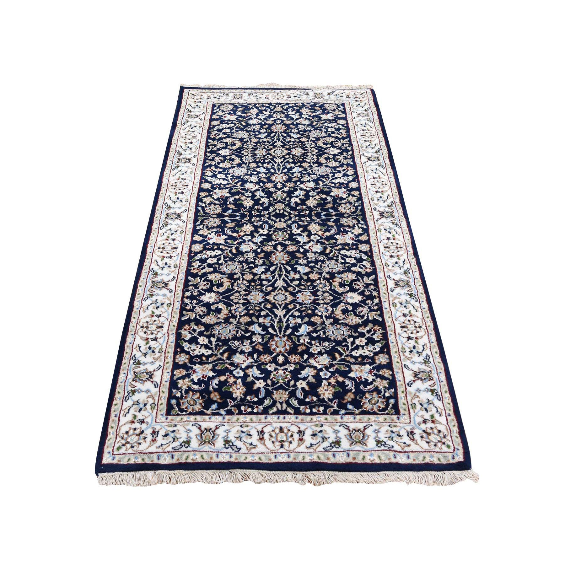 "2'8""x6' Wool And Silk 250 KPSI Navy Blue All Over Design Nain Runner Hand Woven Oriental Rug"