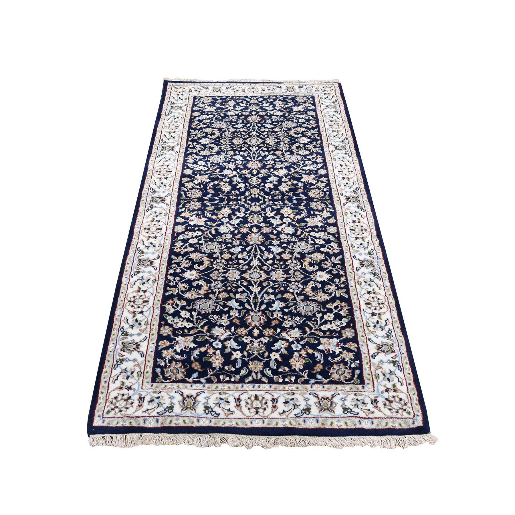 "2'8""x6'1"" Wool And Silk 250 KPSI Navy Blue All Over Design Nain Runner Hand Woven Oriental Rug"