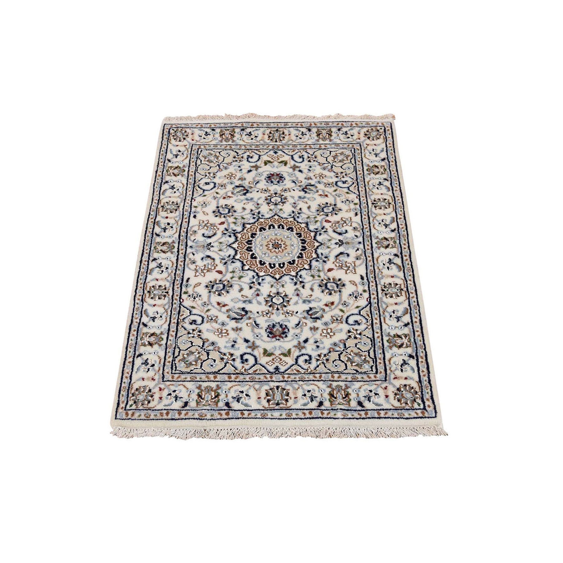 "2'1""x3'2"" Ivory Nain Wool And Silk 250 KPSI Hand Woven Oriental Rug"