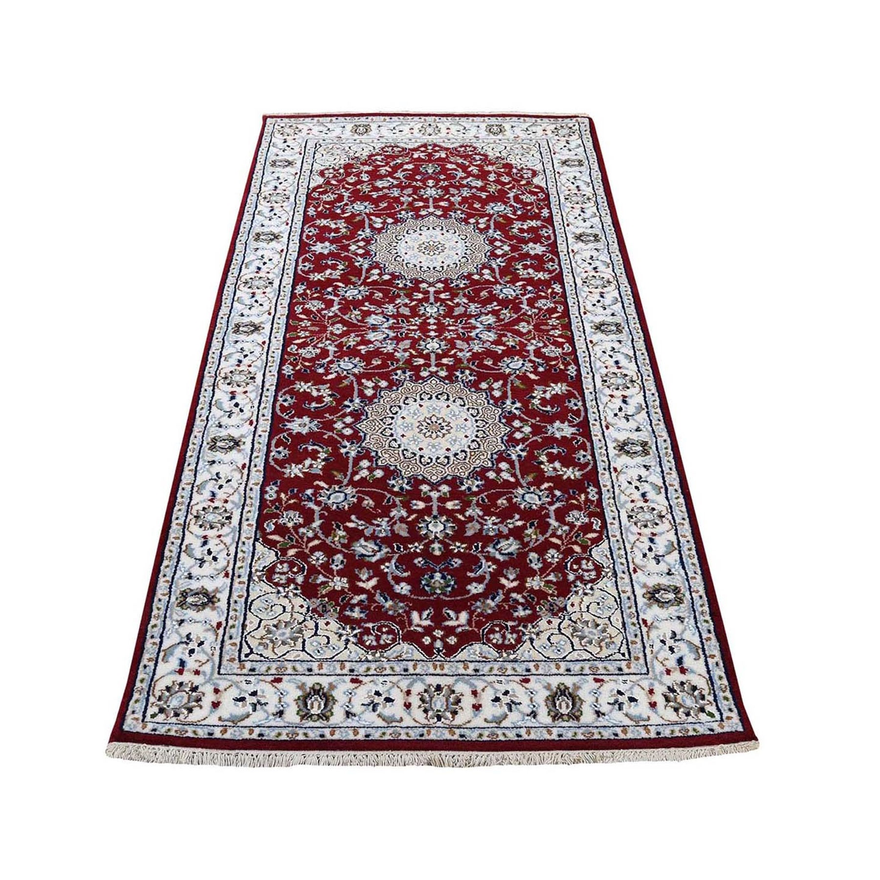 "2'8""x6'1"" Red Nain Runner Wool And Silk 250 KPSI Hand Woven Oriental Rug"