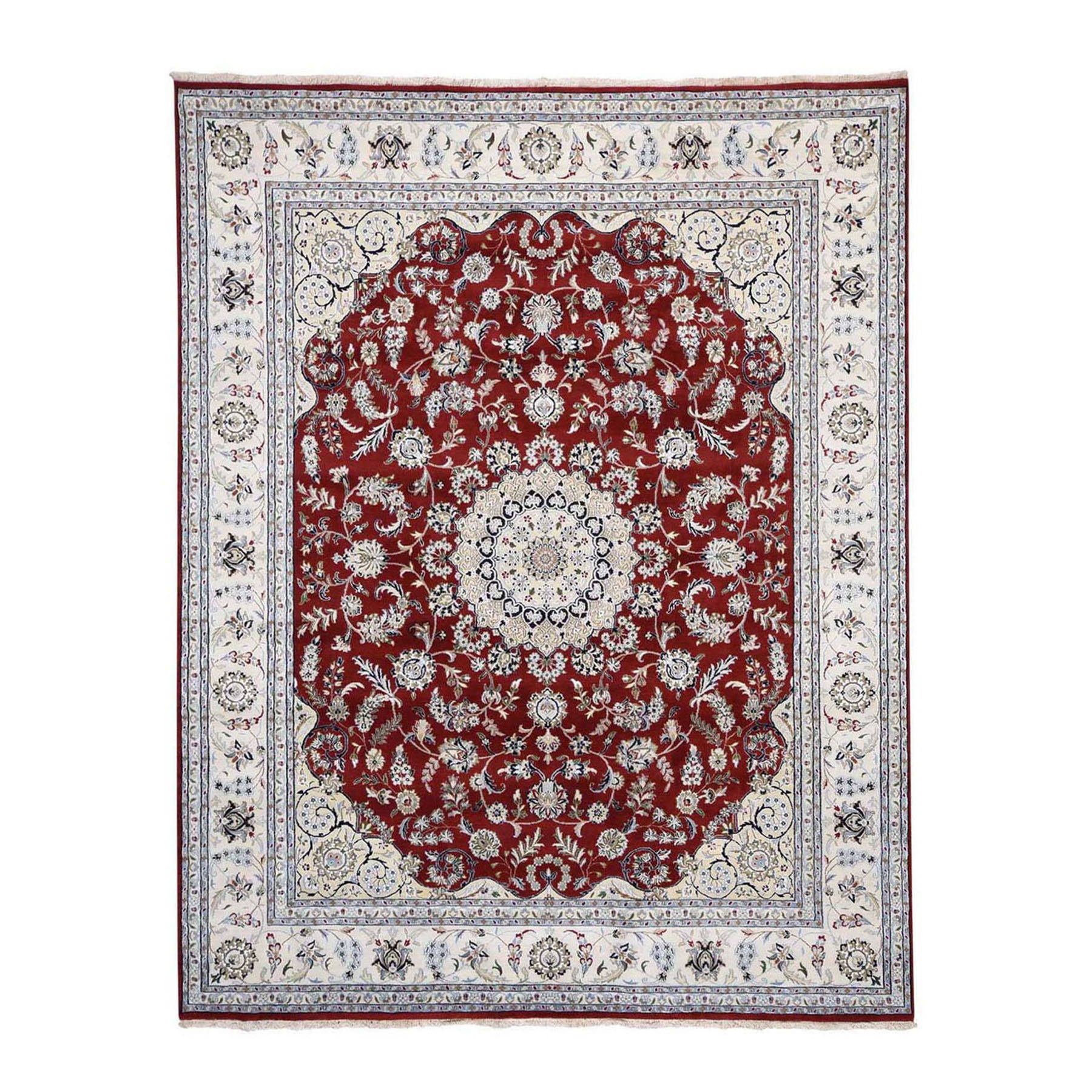 "8'x10'3"" Wool And Silk 250 KPSI Red Nain Hand Woven Oriental Rug"